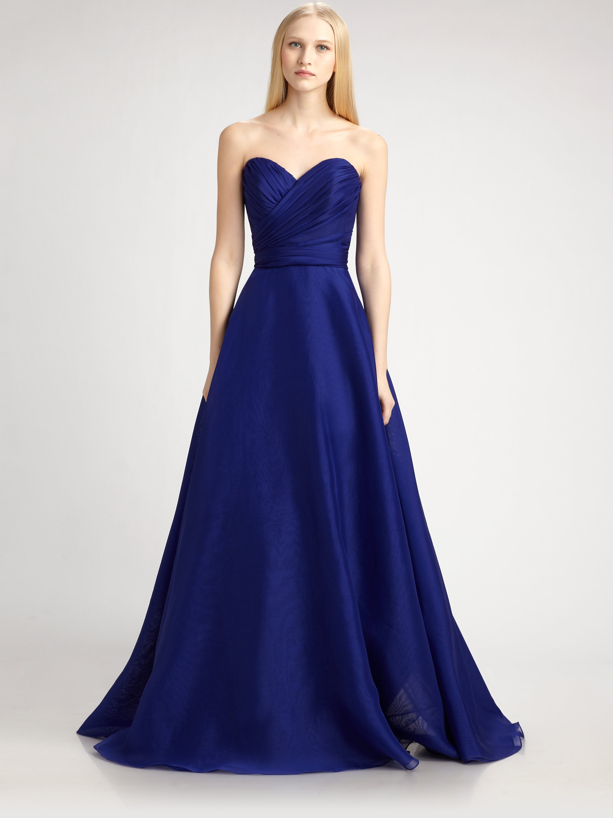 Lyst - Theia Silk Organza Ball Gown in Blue