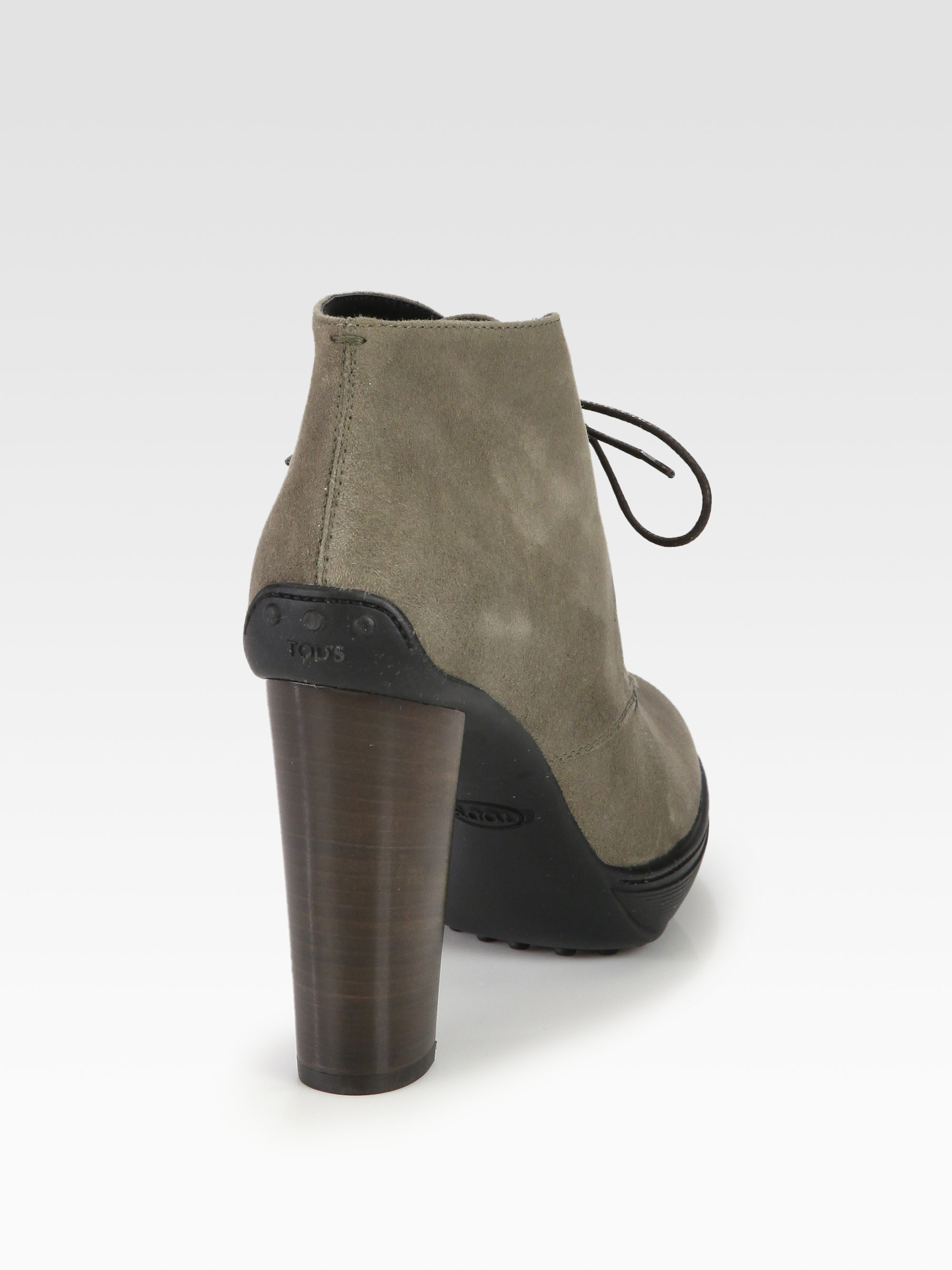 Todu0026#39;s Suede Laceup Platform Ankle Boots In Gray | Lyst