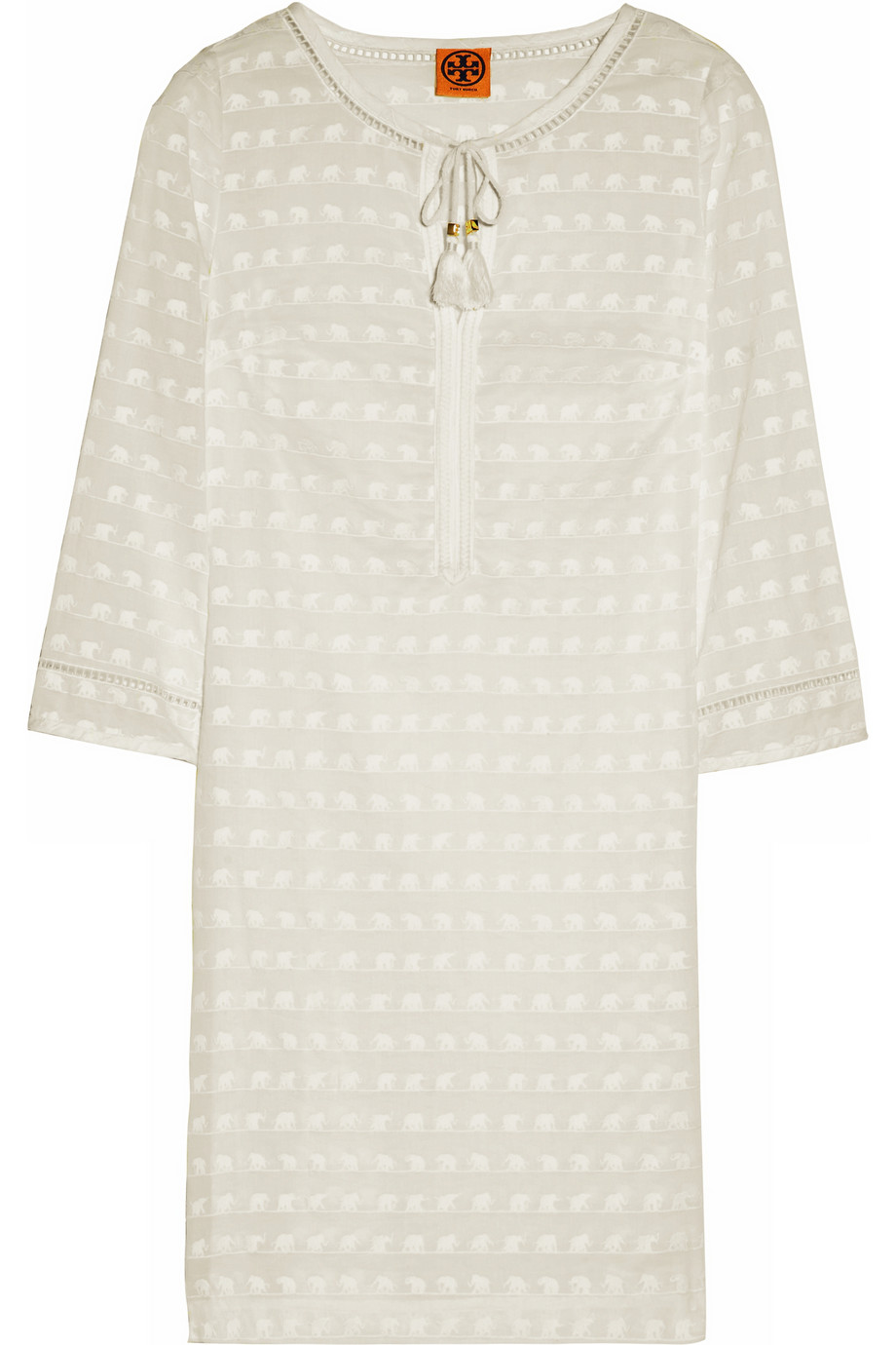 Tory Burch Ollie Elephant Embroidered Cotton Voile Dress
