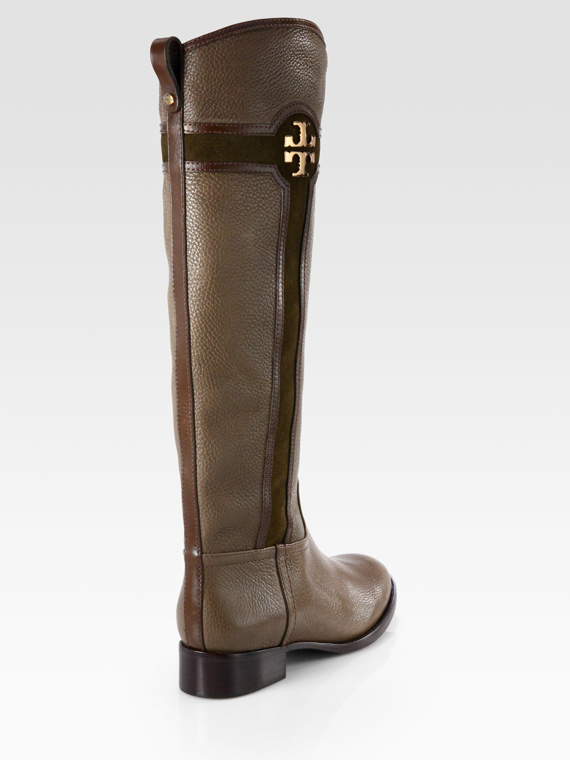 c98e4f7ab26d2f Lyst - Tory Burch Alaina Leather and Suede Logo Kneehigh Boots in Brown
