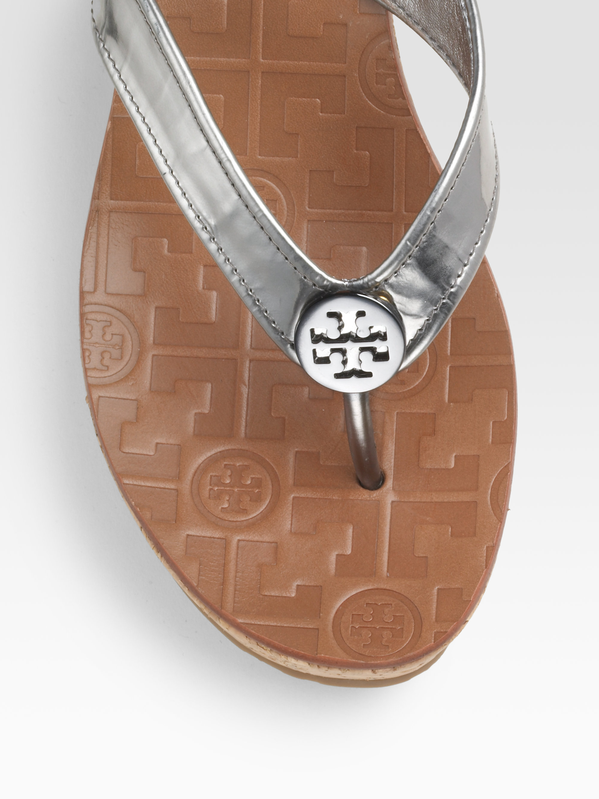 f7a3f621664d Lyst - Tory Burch Thora Mirrored Leather Thong Sandals in Brown