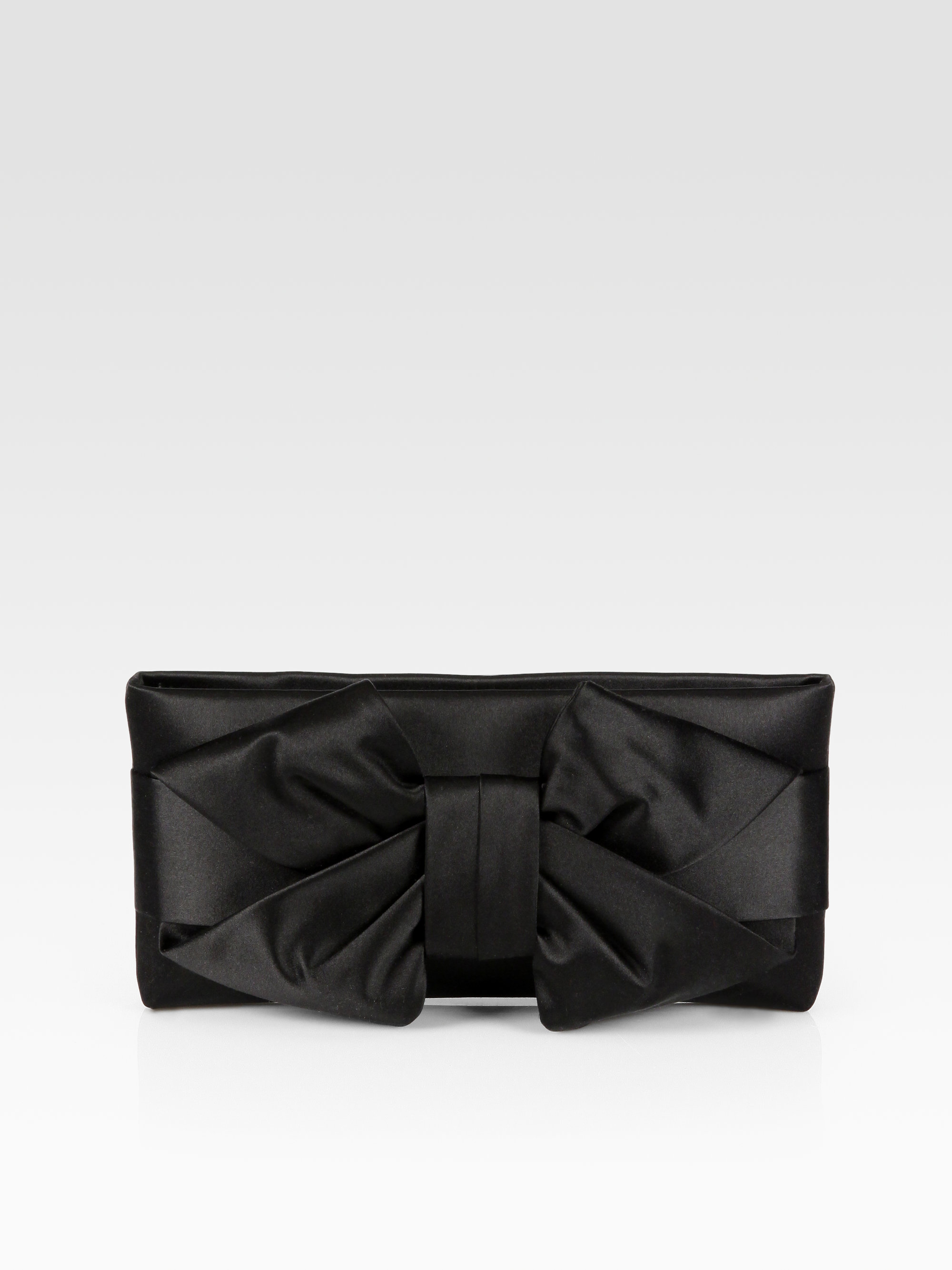 Valentino Satin Bow Clutch In Black | Lyst