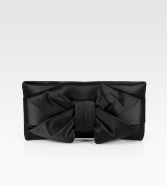 Valentino Satin Bow Clutch - Lyst
