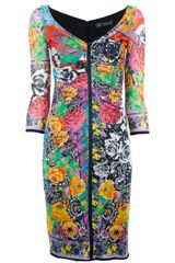 Versace Floral Gathered Dress - Lyst