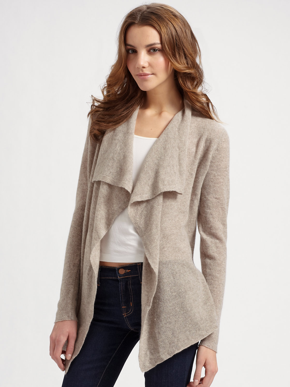 White   warren Cashmere Open Front Sweater in Natural | Lyst