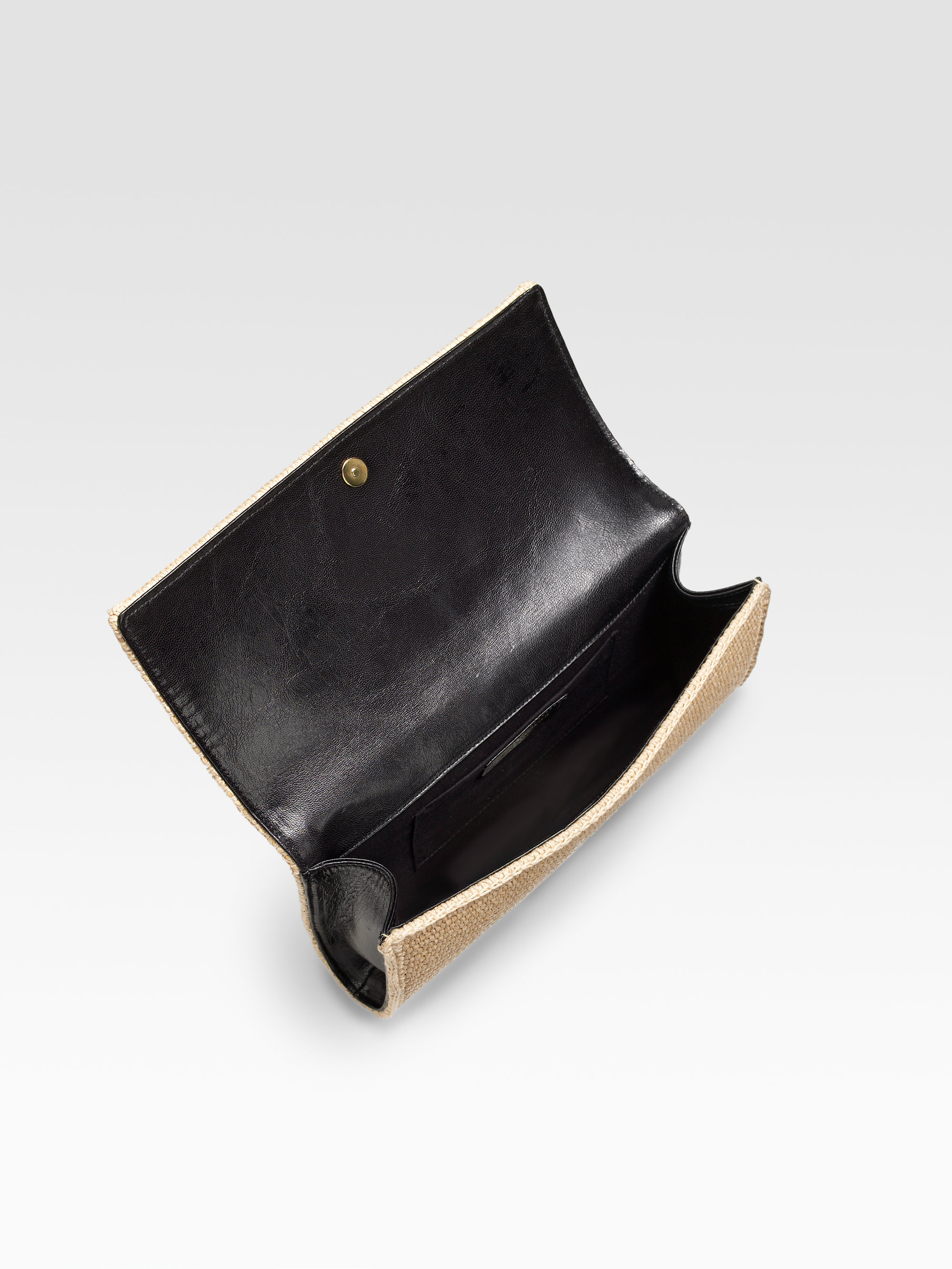lyst saint laurent raffia belle de jour large clutch in. Black Bedroom Furniture Sets. Home Design Ideas