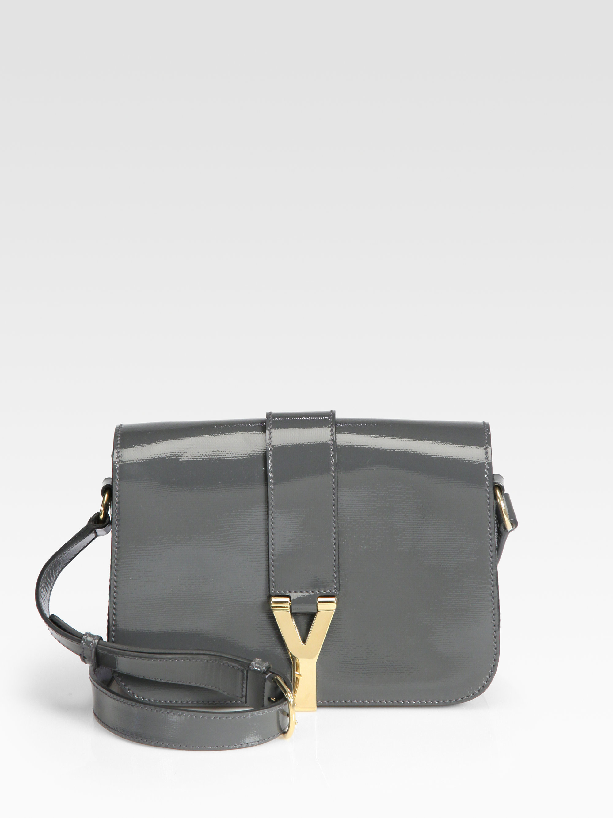 Saint laurent Ysl Chyc Medium Patent Leather Flap Bag in Gray ...