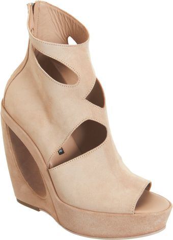 Ann Demeulemeester Cutoutdetailed Wedge Ankle Boot - Lyst
