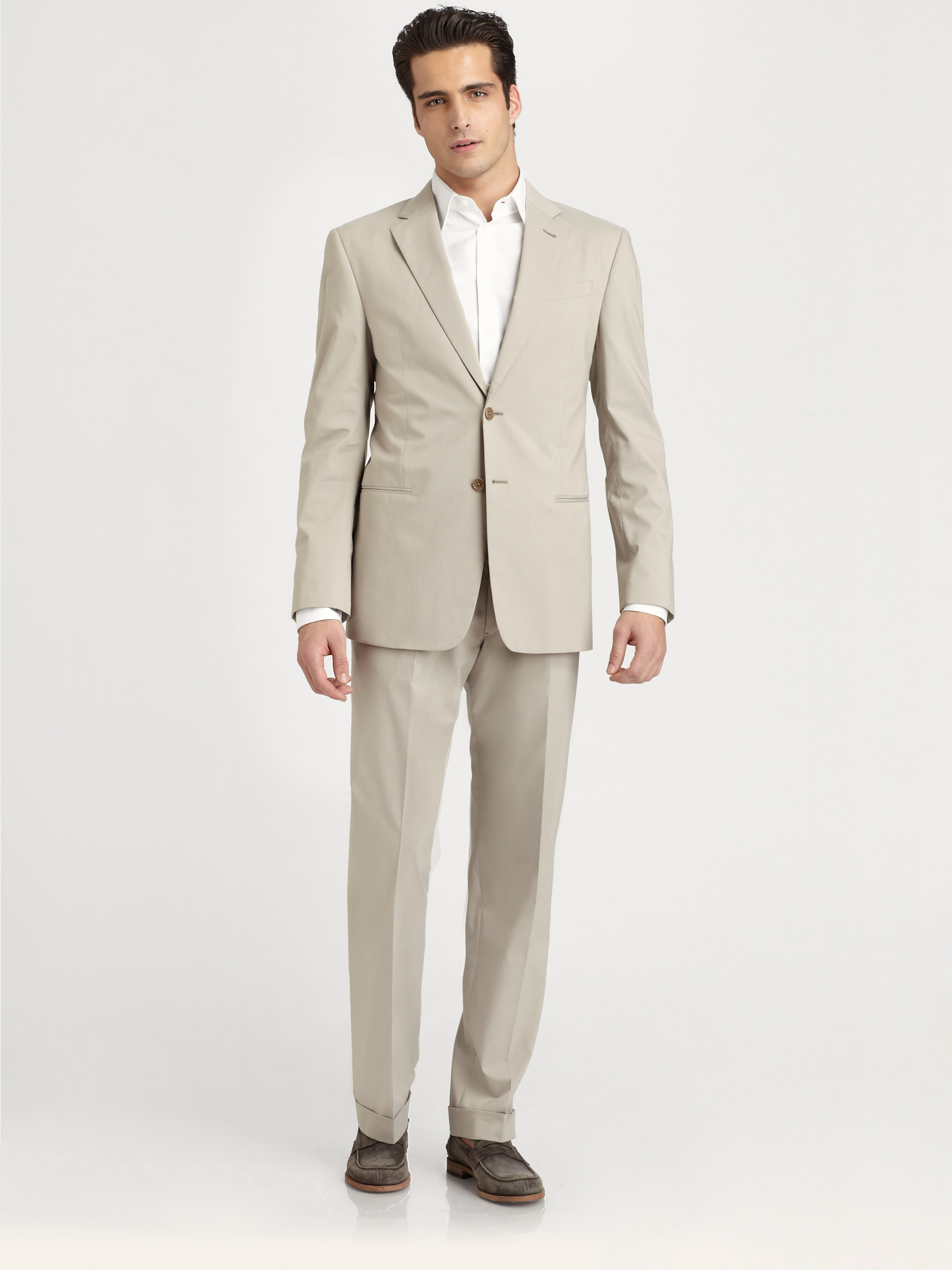 Armani Cotton Summer Suit in Natural for Men | Lyst