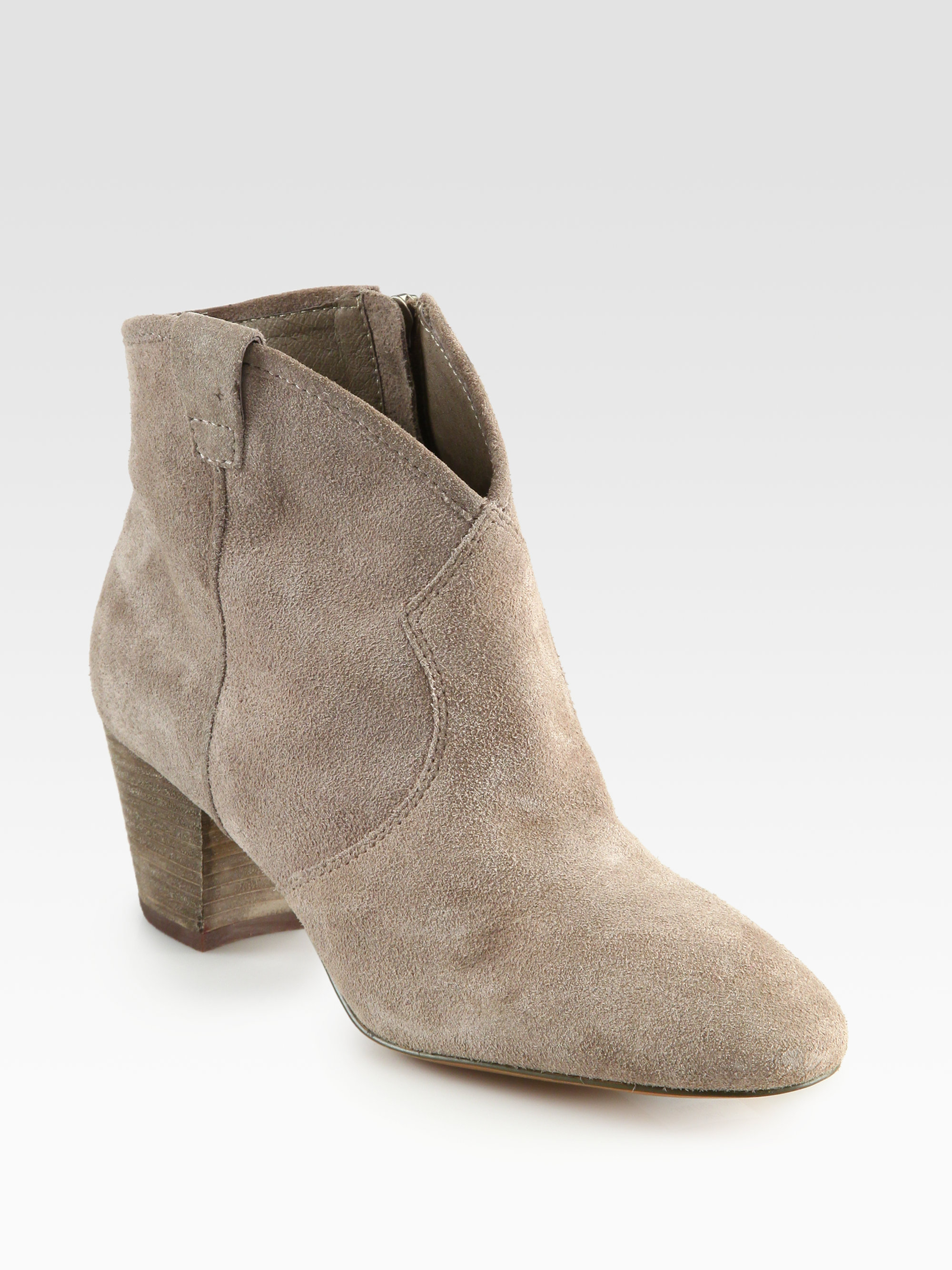 ash spiral suede western ankle boots in gray vison lyst