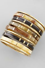 Ashley Pittman Bora Horn Bronze Bangles Set Of 10 - Lyst