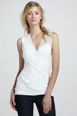 Bailey 44 Sleeveless Wrap Top with Sheer Detail - Lyst