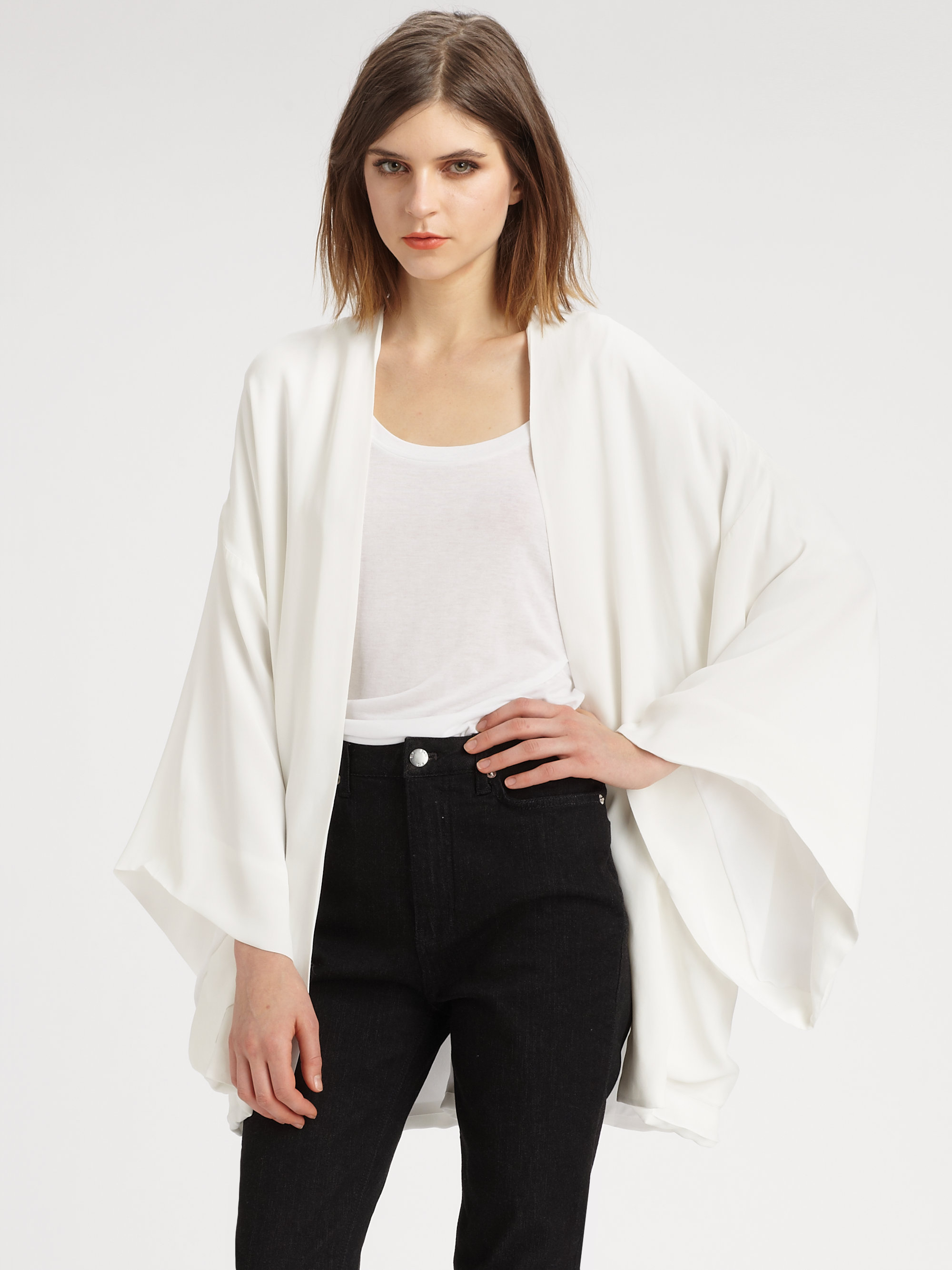 lyst blk dnm kimono jacket in white. Black Bedroom Furniture Sets. Home Design Ideas