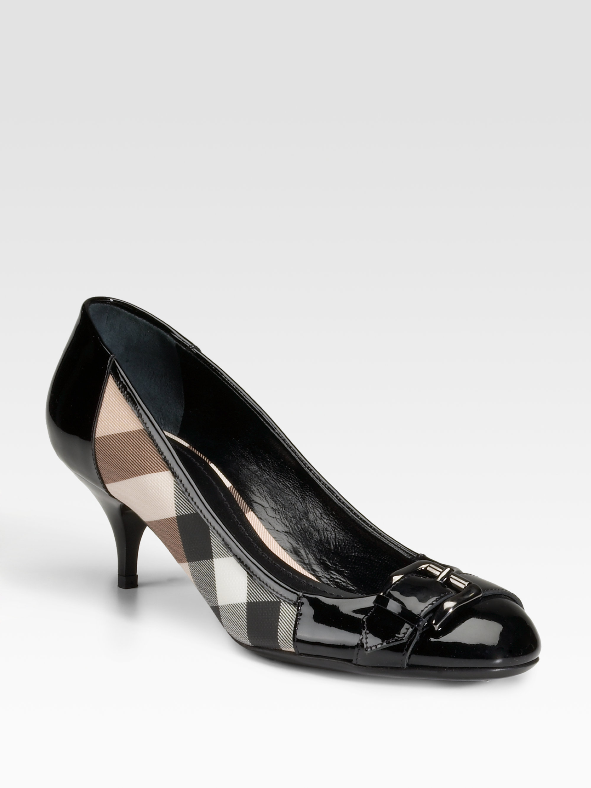 burberry check print coated canvas patent leather pumps in