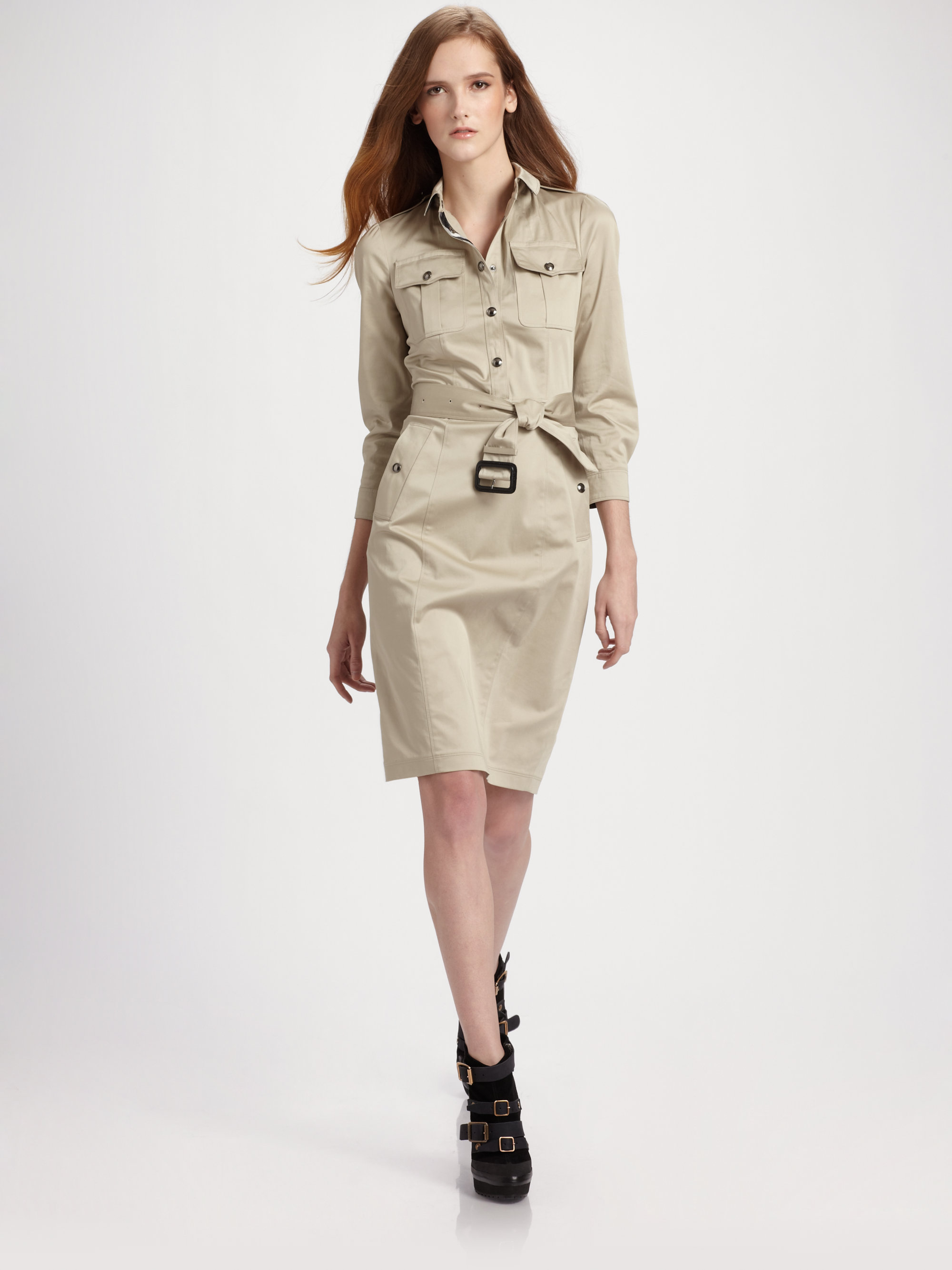b5db065878ab92 Lyst - Burberry Caramia Belted Trench Dress in White