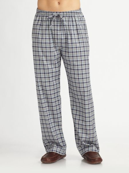Derek Rose Flannel Lounge Pants In Blue For Men Lyst