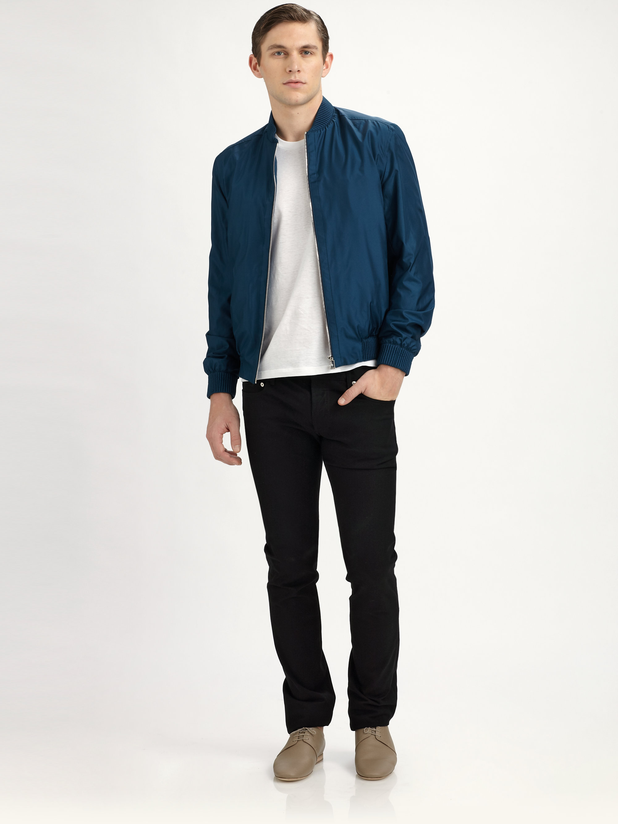 Dior homme Silk Bomber Jacket in Blue for Men | Lyst
