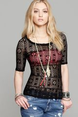 Free People Top Stretch Crochet Lace - Lyst