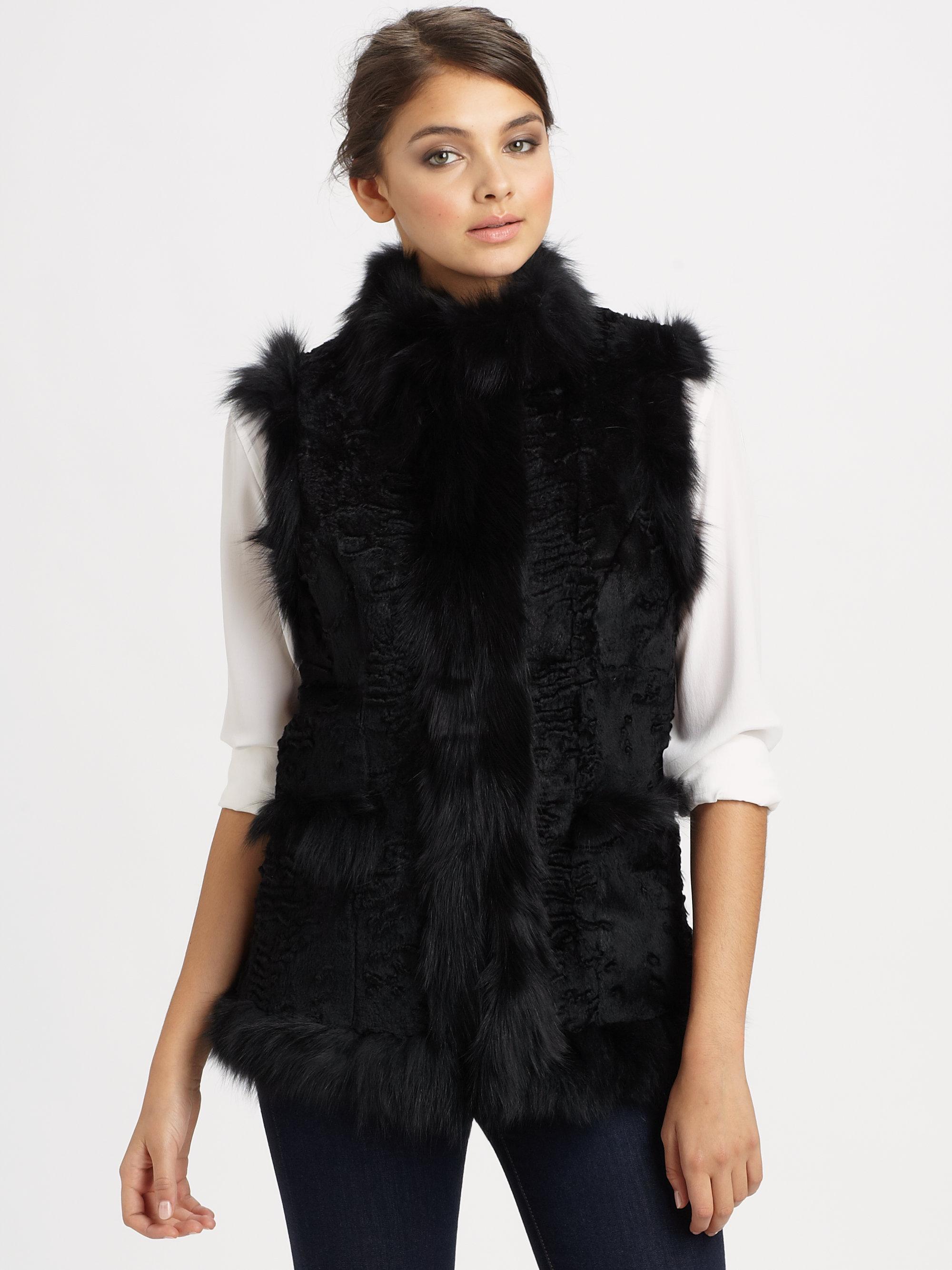 Glamourpuss Sheared Rabbit Fox Fur Vest in Black | Lyst