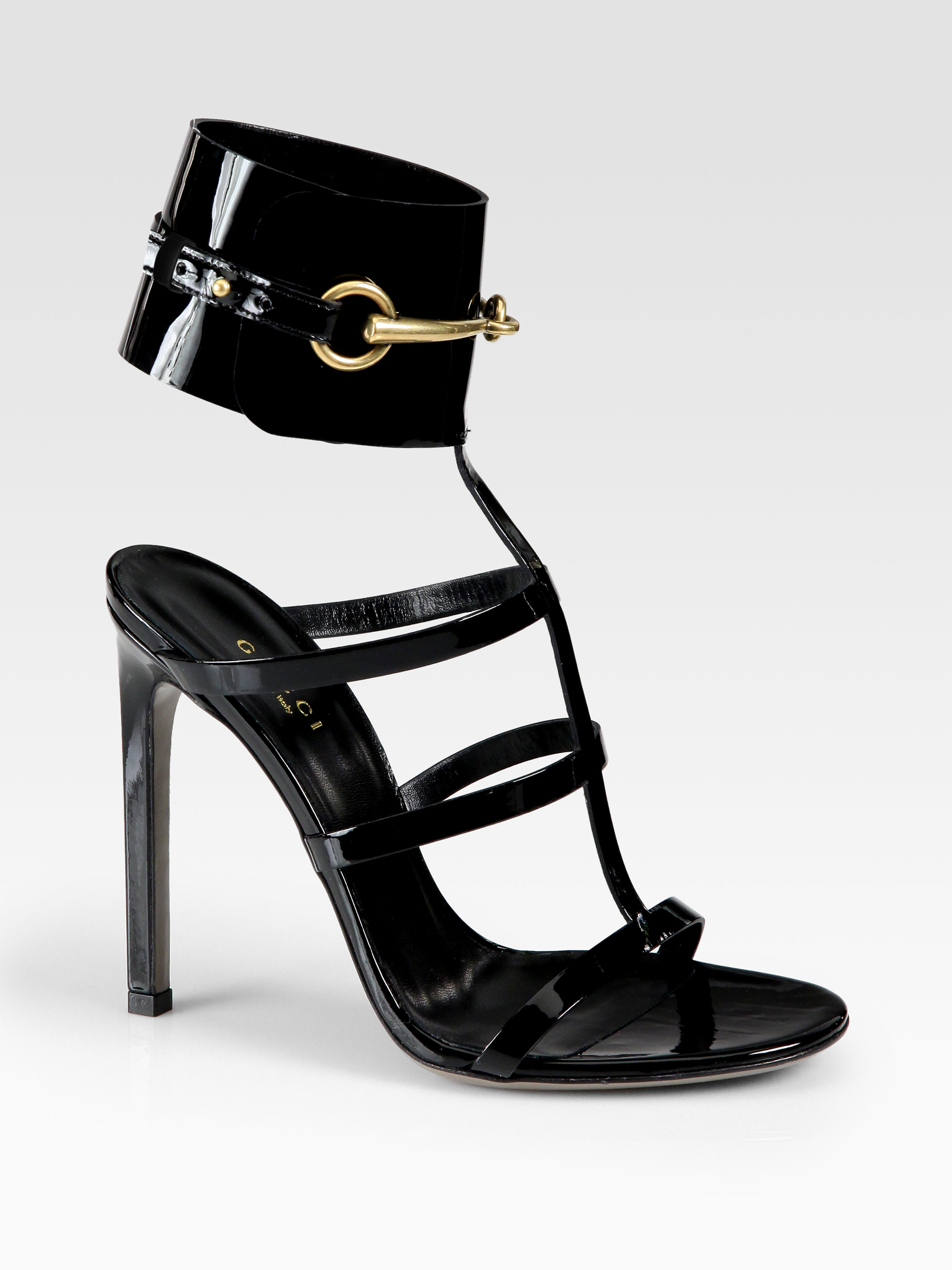 30001d99091 Gucci Ursula Patent Leather Horsebit Ankle Strap Sandals in Black - Lyst