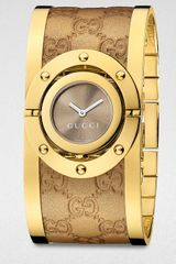Gucci Twirl Metallic Leather Bangle Watch