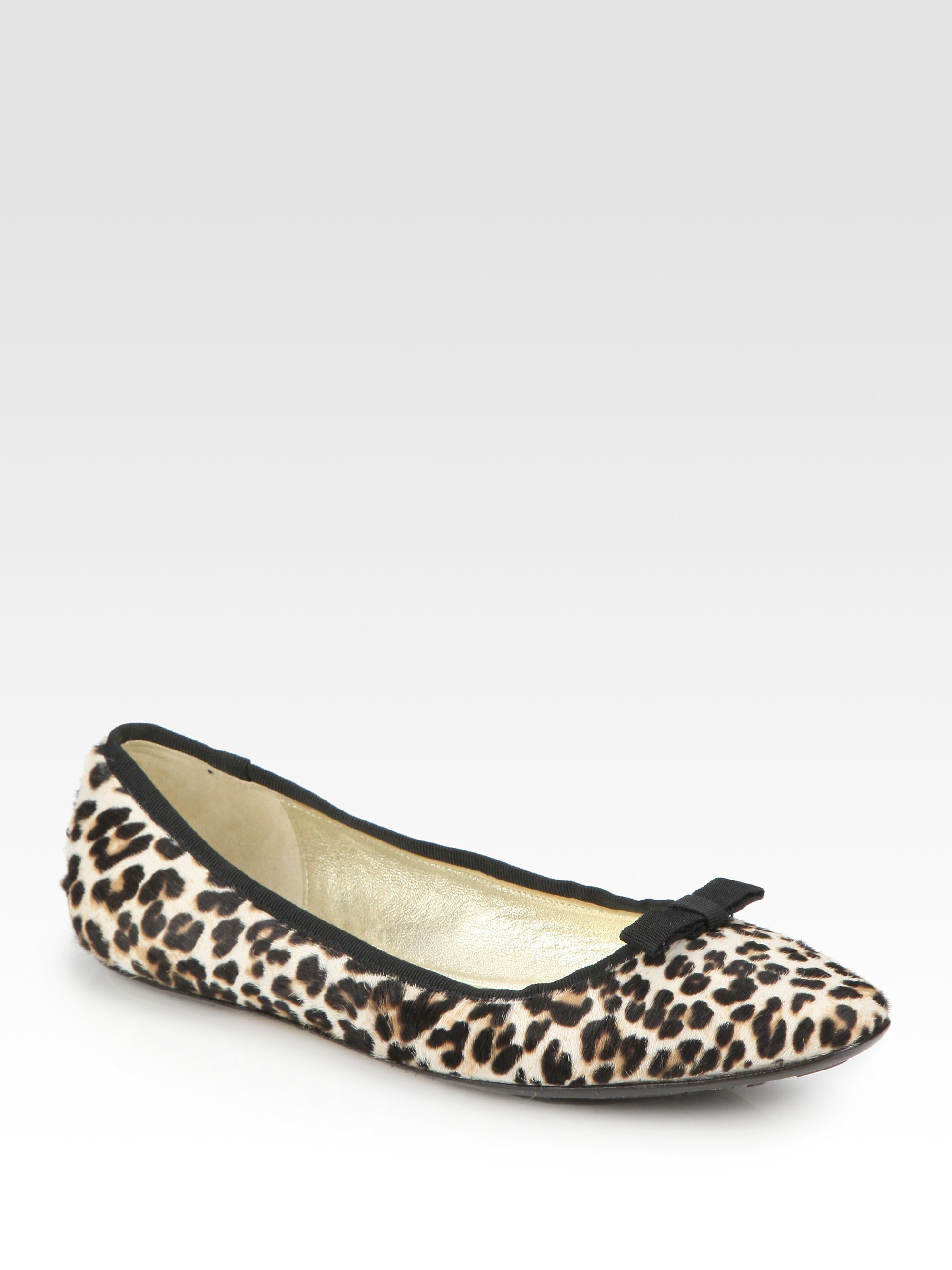 aedd3907cfc2 Lyst - Jimmy Choo Leopard-Print Calf Hair Ballet Flats in Natural