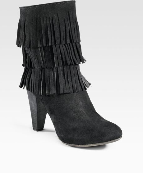 joie rockefella fringe boots in black lyst
