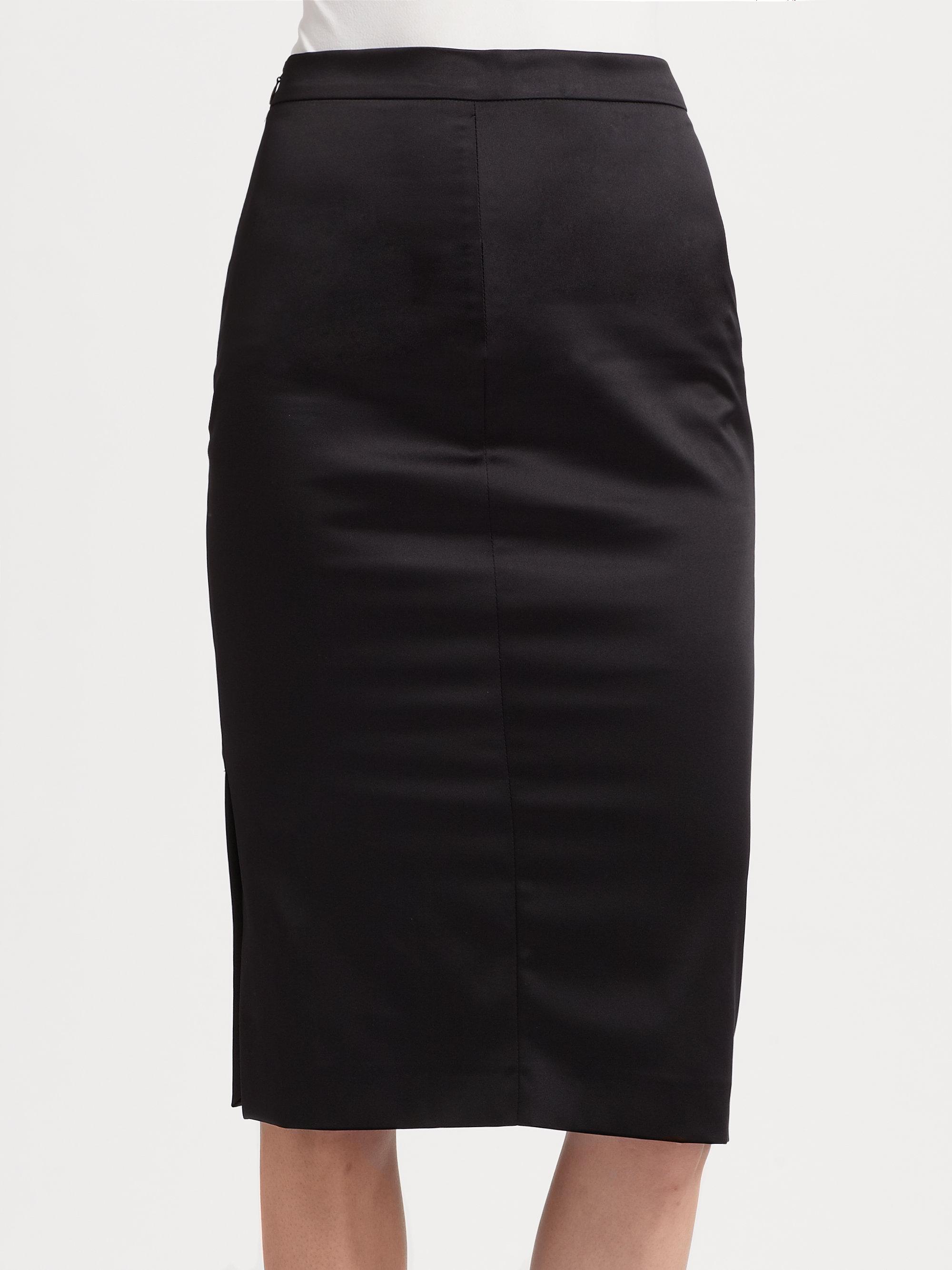 just cavalli sateen pencil skirt in black lyst