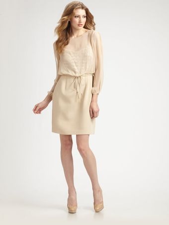 Kay Unger Silk Illusion Dress - Lyst