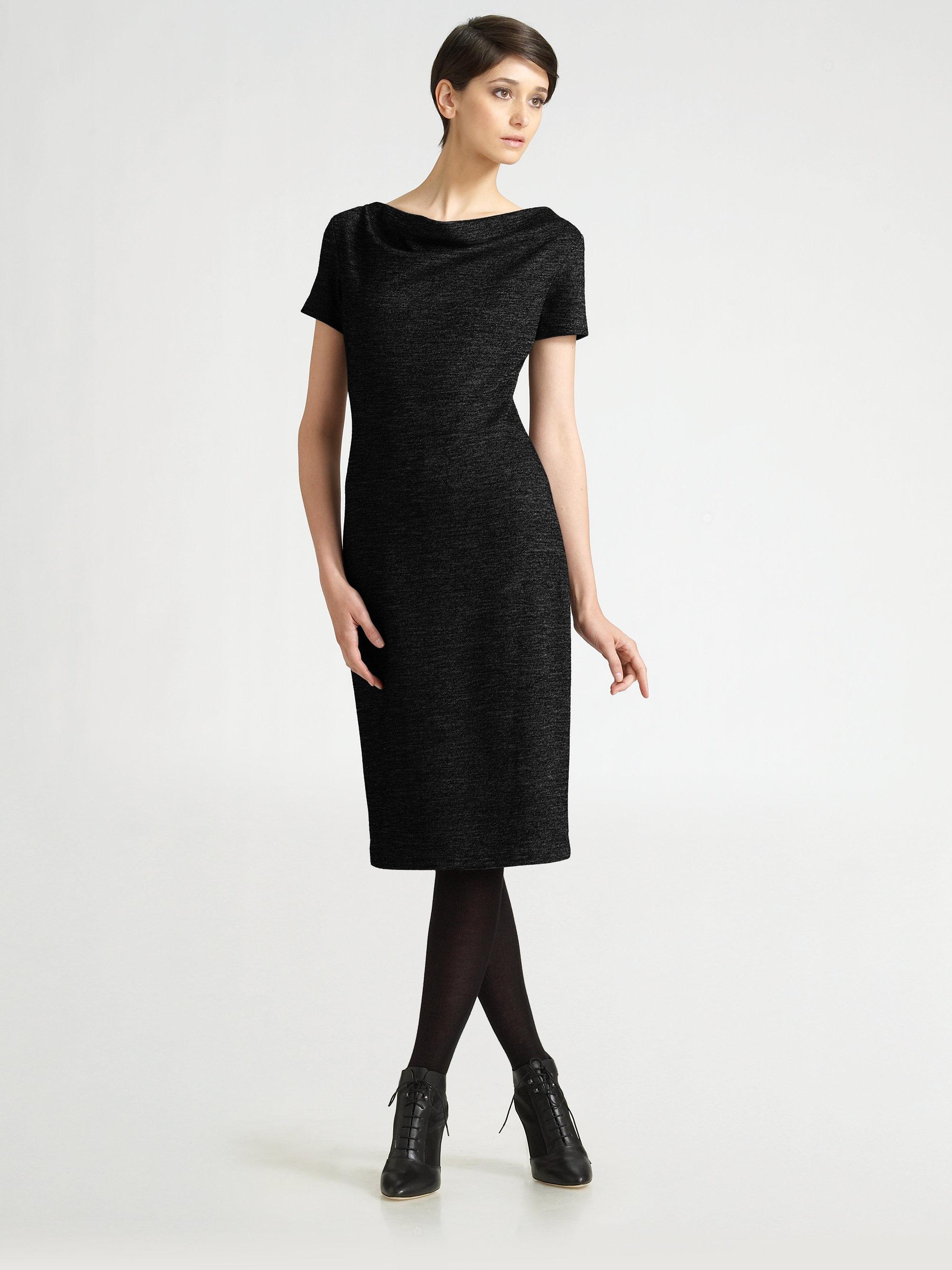 Max mara Cowl Neck Jersey Sheath Dress in Black - Lyst
