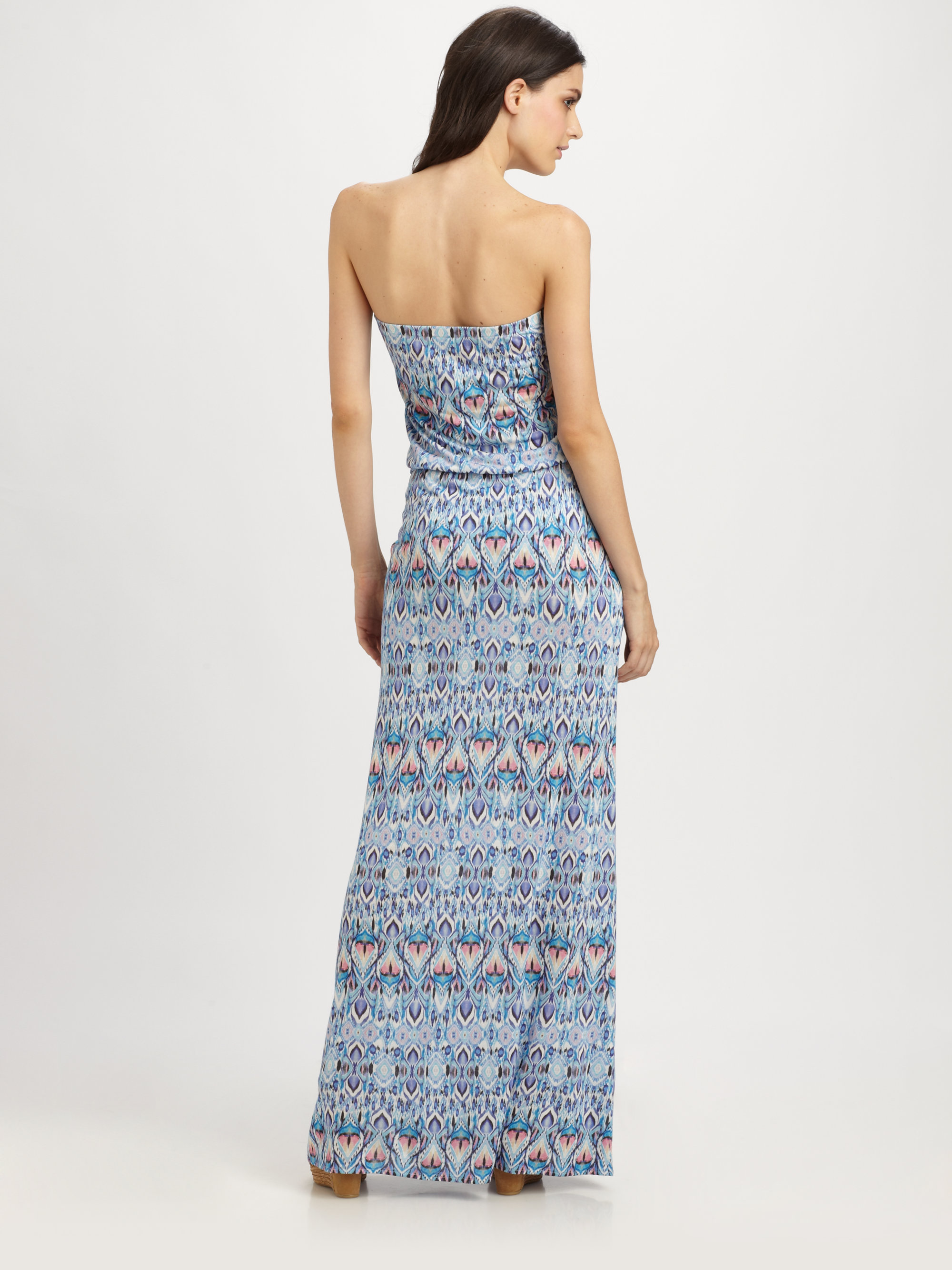 Melissa odabash Printed Strapless Maxi Dress in Blue - Lyst