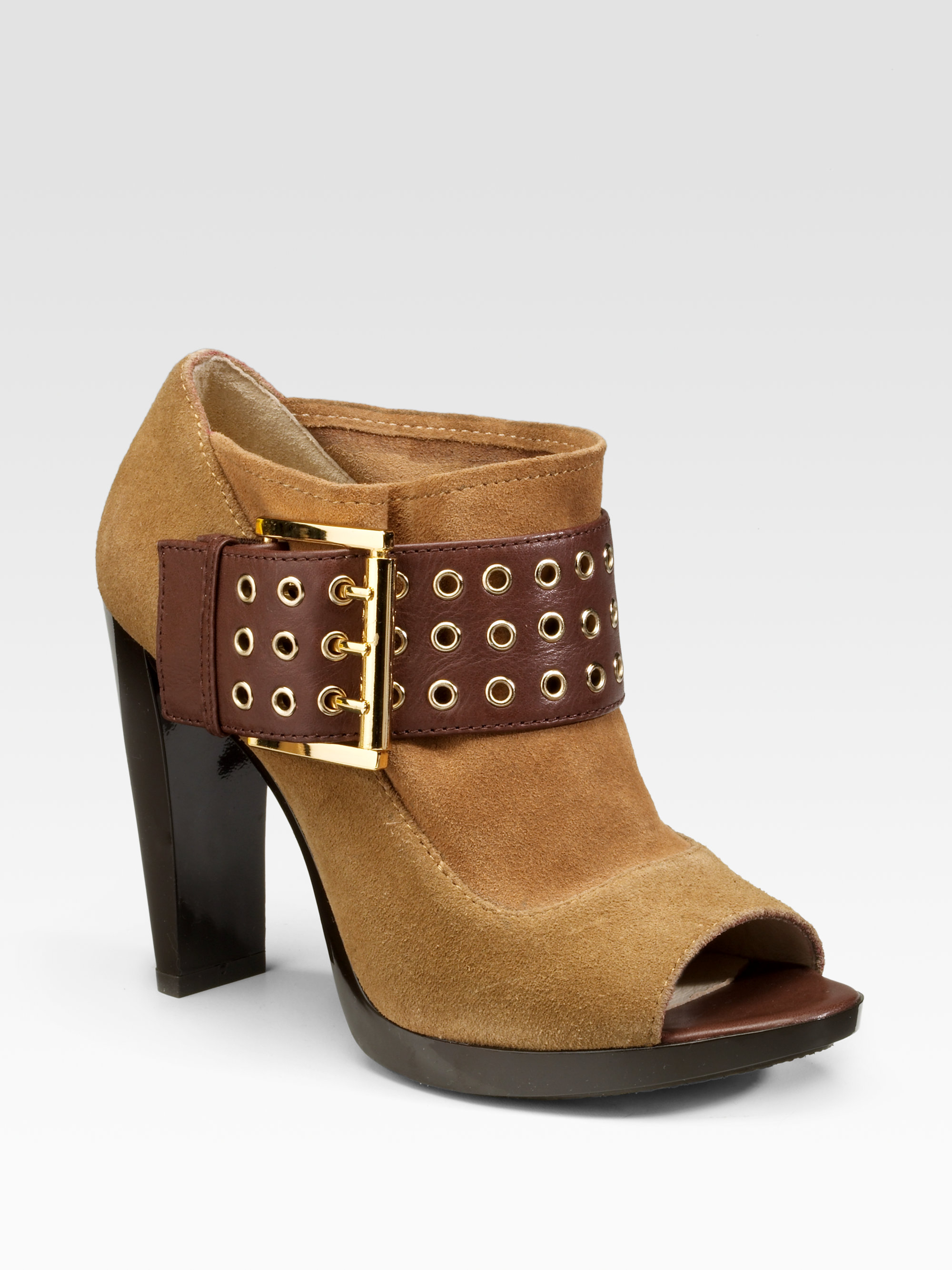 lyst michael michael kors peep toe ankle boots in brown. Black Bedroom Furniture Sets. Home Design Ideas