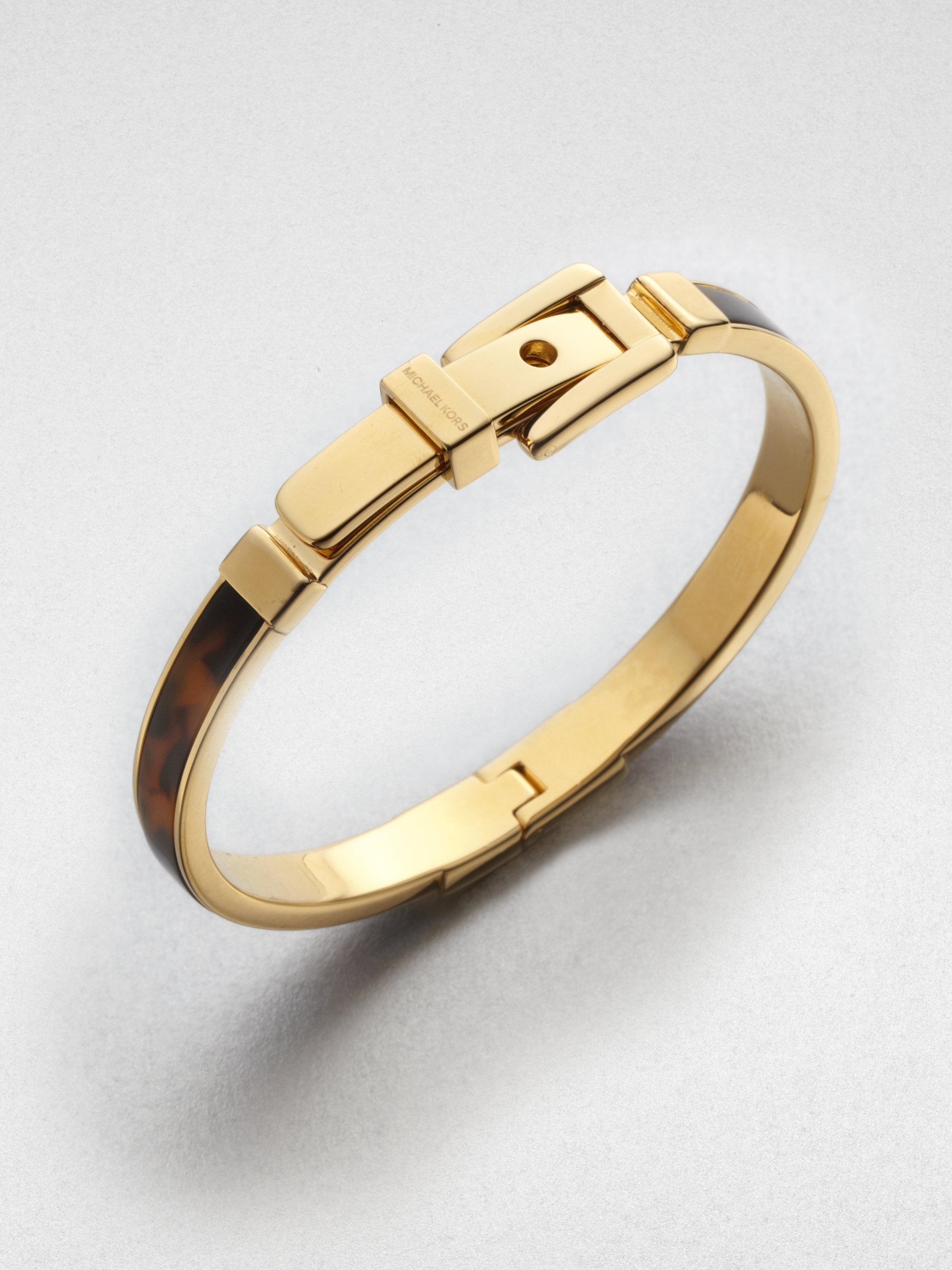 michael kors tortoise pattern buckle bangle bracelet in. Black Bedroom Furniture Sets. Home Design Ideas