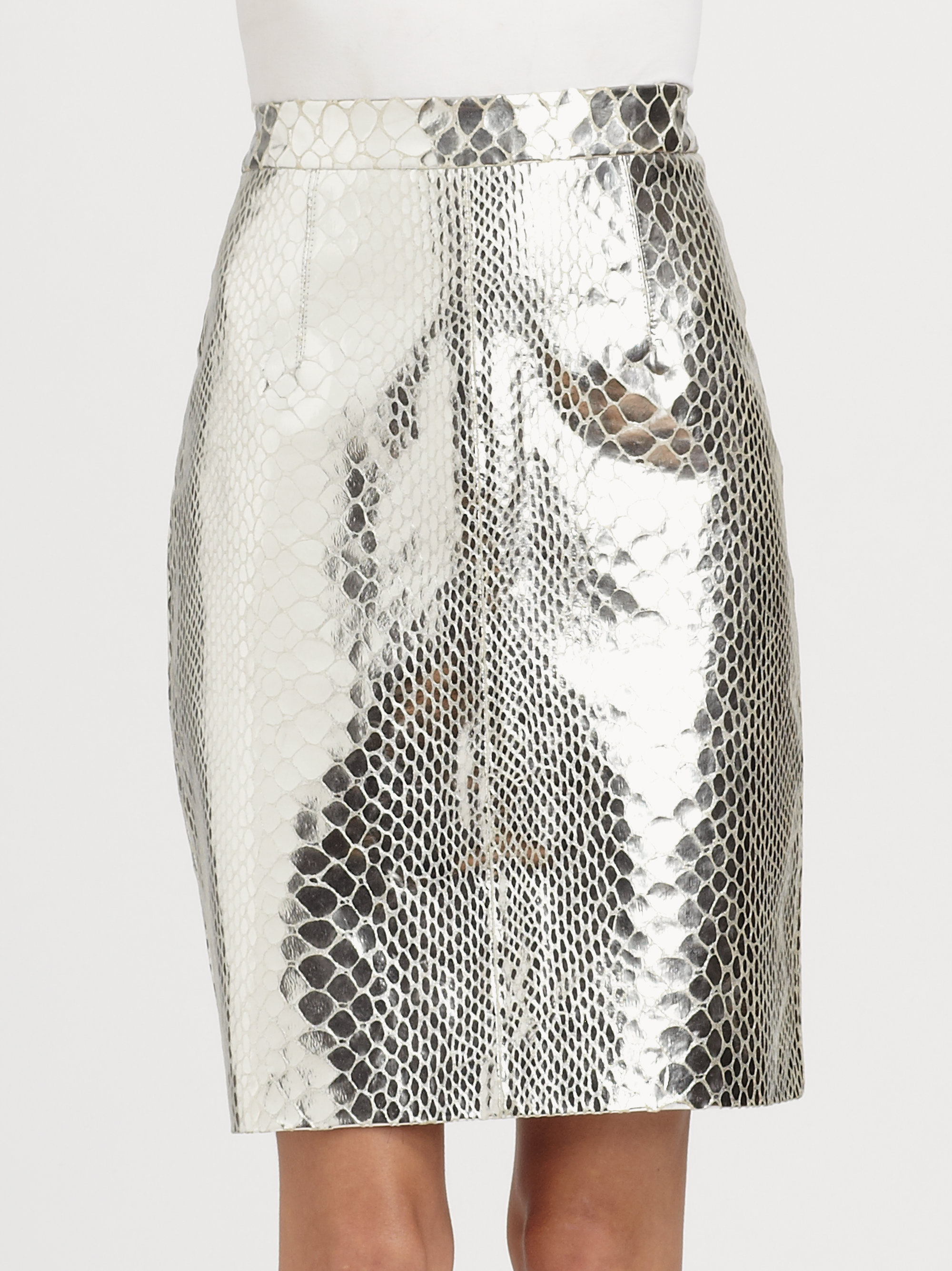 milly snakeprint leather pencil skirt in silver lyst
