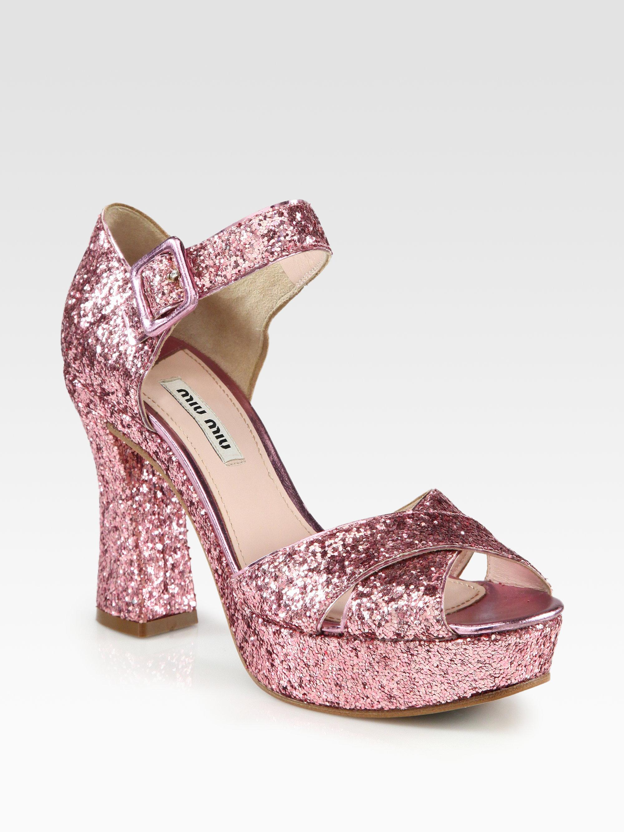 Miu Miu Glittered platform sandals