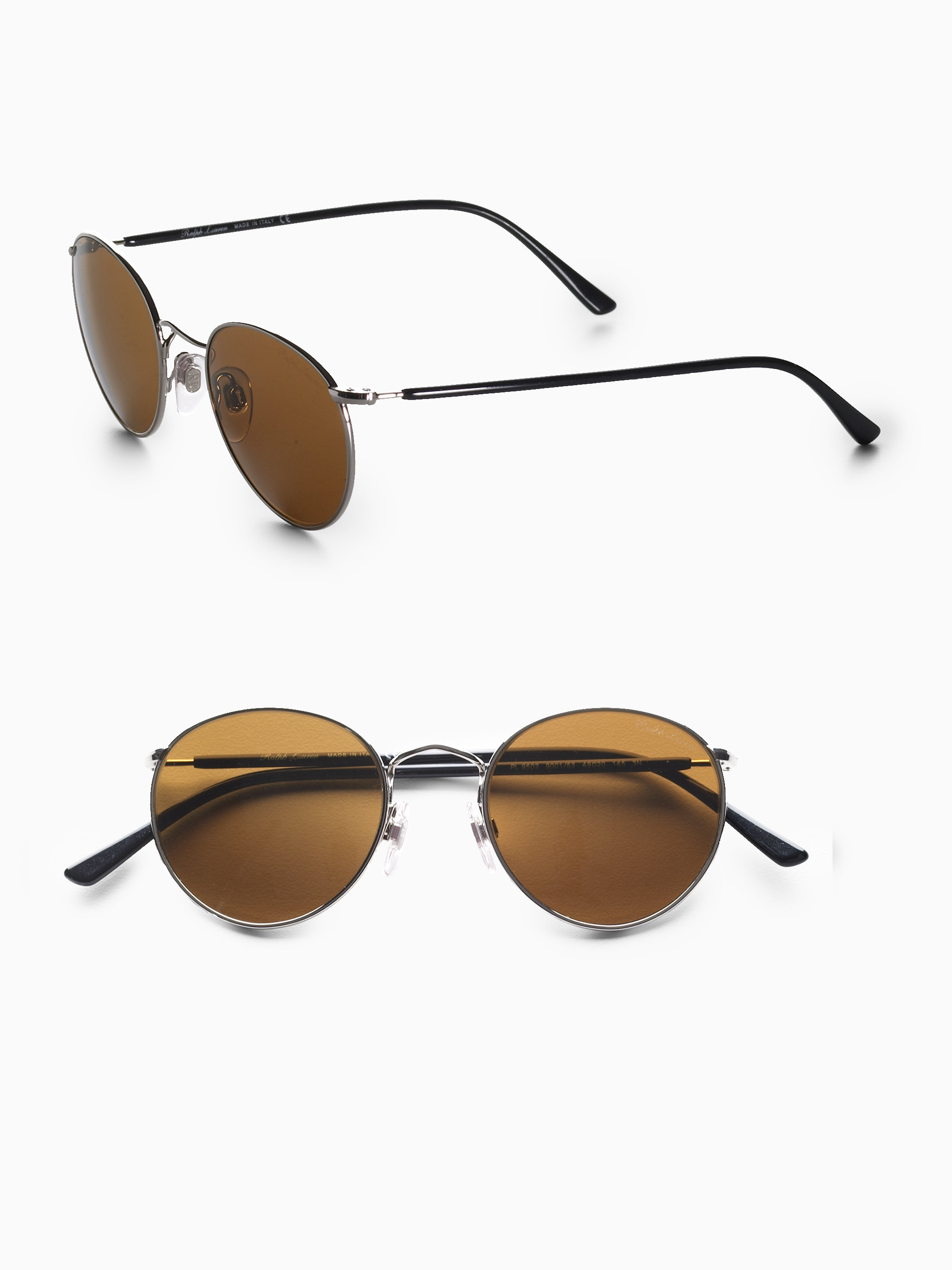 Lyst - Polo Ralph Lauren Small Round Sunglasses/Silver Frames in ...