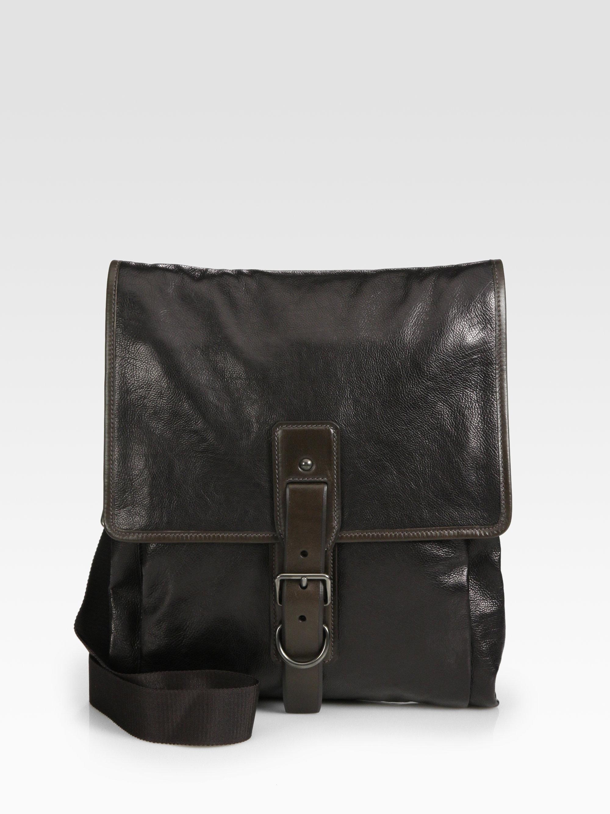 Prada Glace Leather Shoulder Bag In Black For Men Lyst