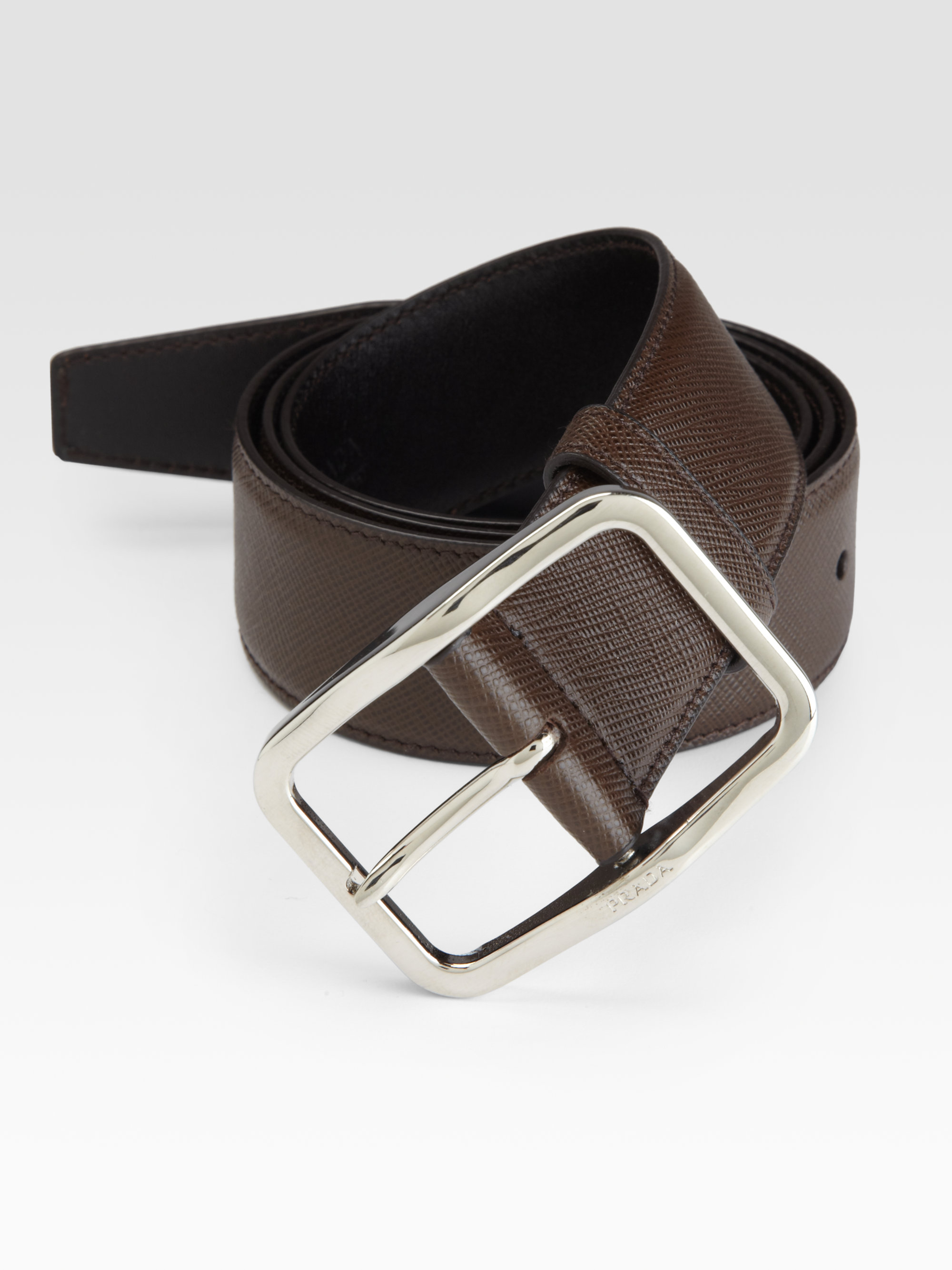 Prada Saffiano Leather Belt In Brown For Men