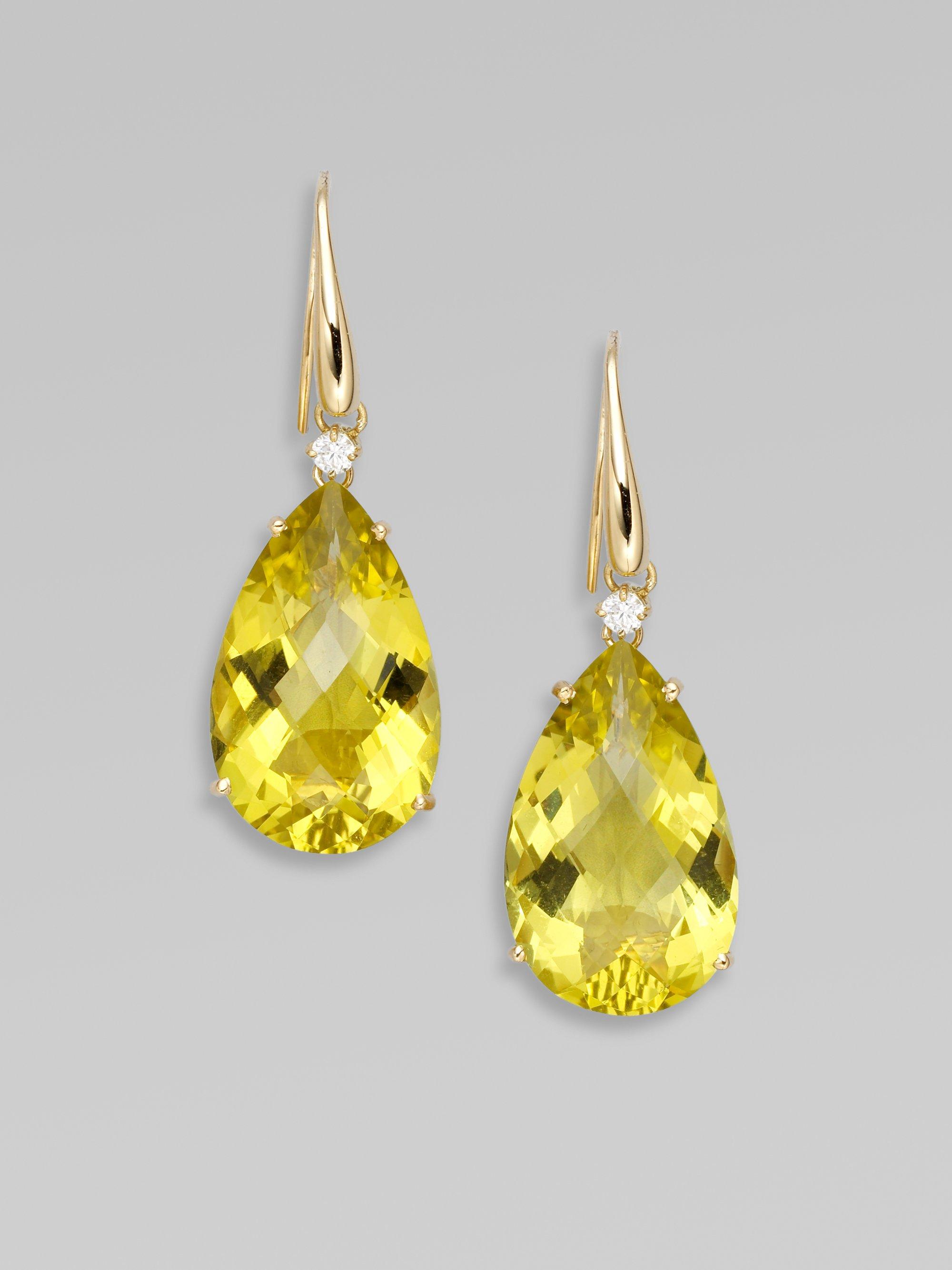 Roberto Coin Lemon Quartz Diamond 18k Yellow Gold Earrings