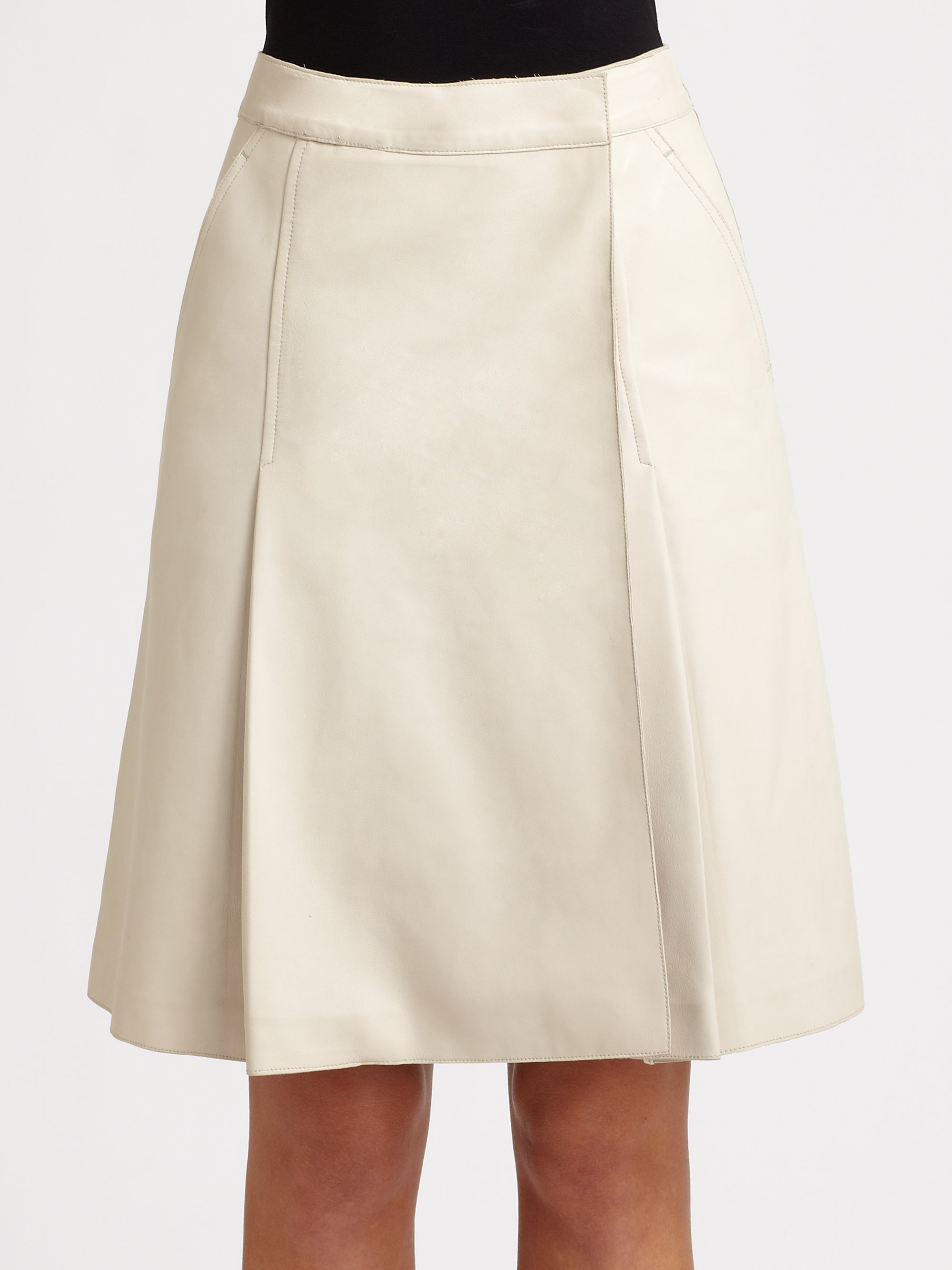 Rochas Leather Skirt in White | Lyst