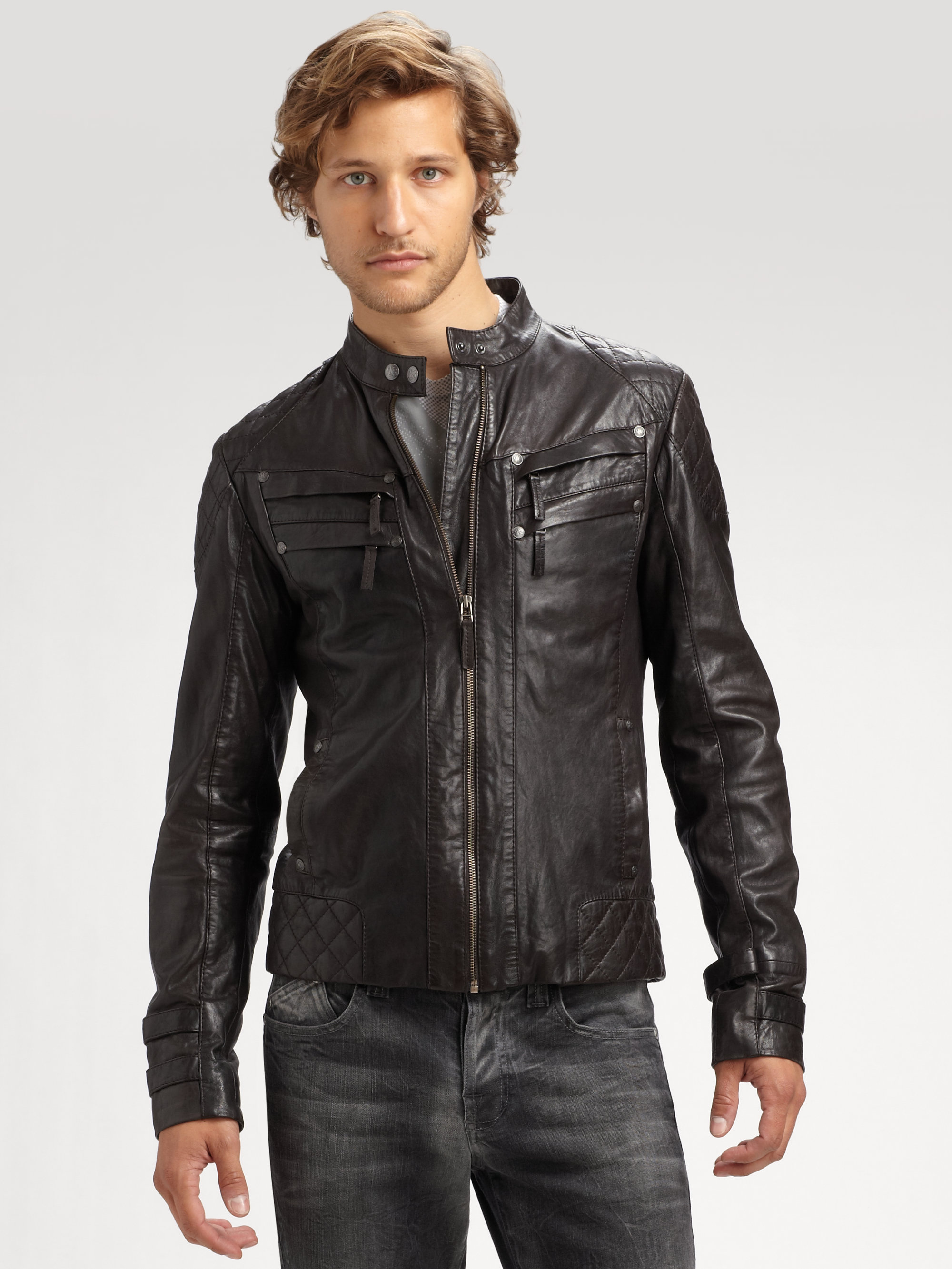 best men's moto leather jacket