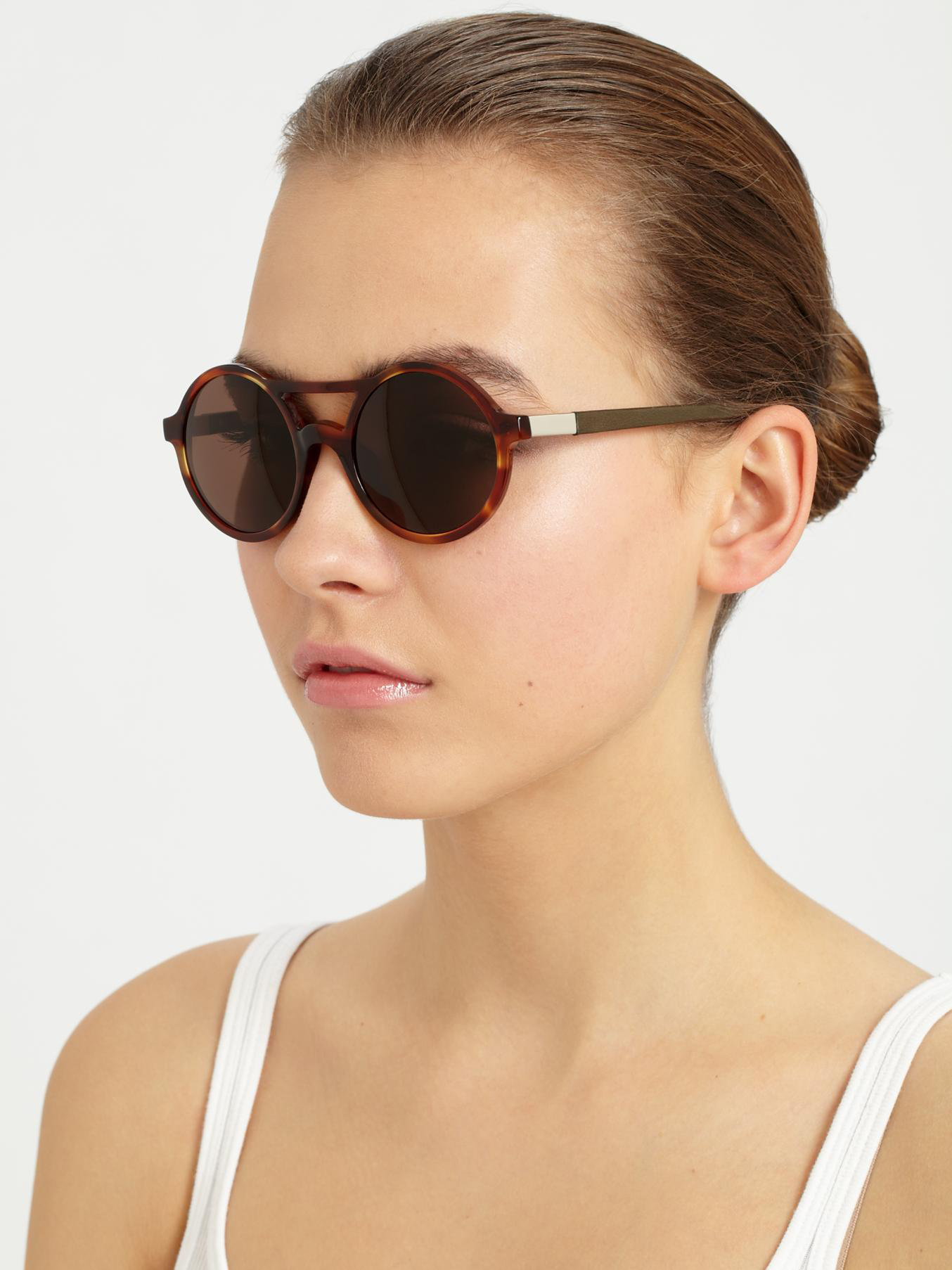 Lyst The Row Round Tortoiseshell Acetate Sunglasses in Brown