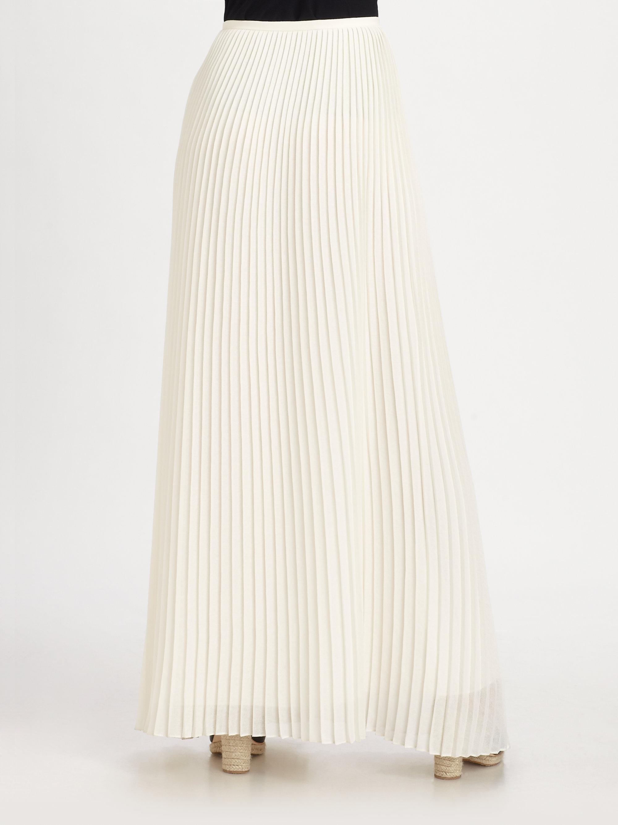 White Pleated Maxi Skirt - Skirts