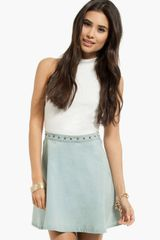 Tobi Kelly Spiked Chambray Skirt - Lyst