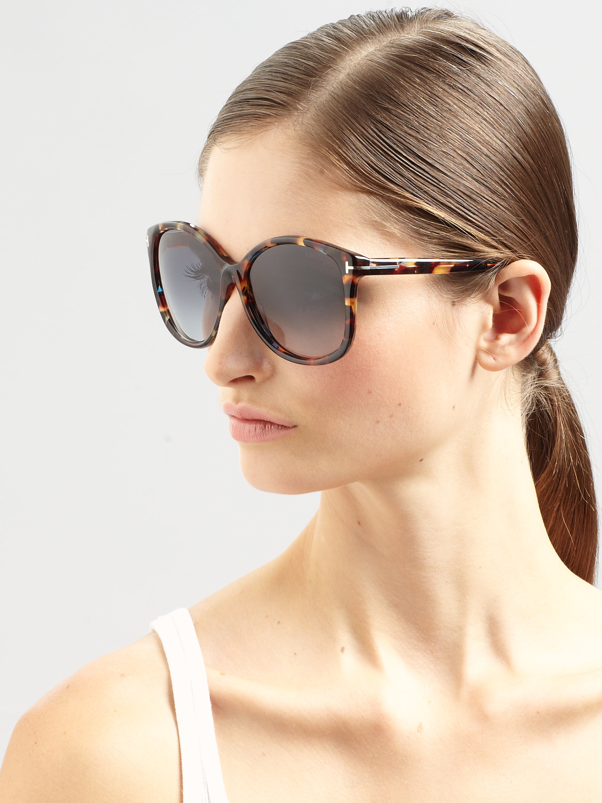 Tom Ford Alicia Round Acetate Sunglasses In Brown Lyst