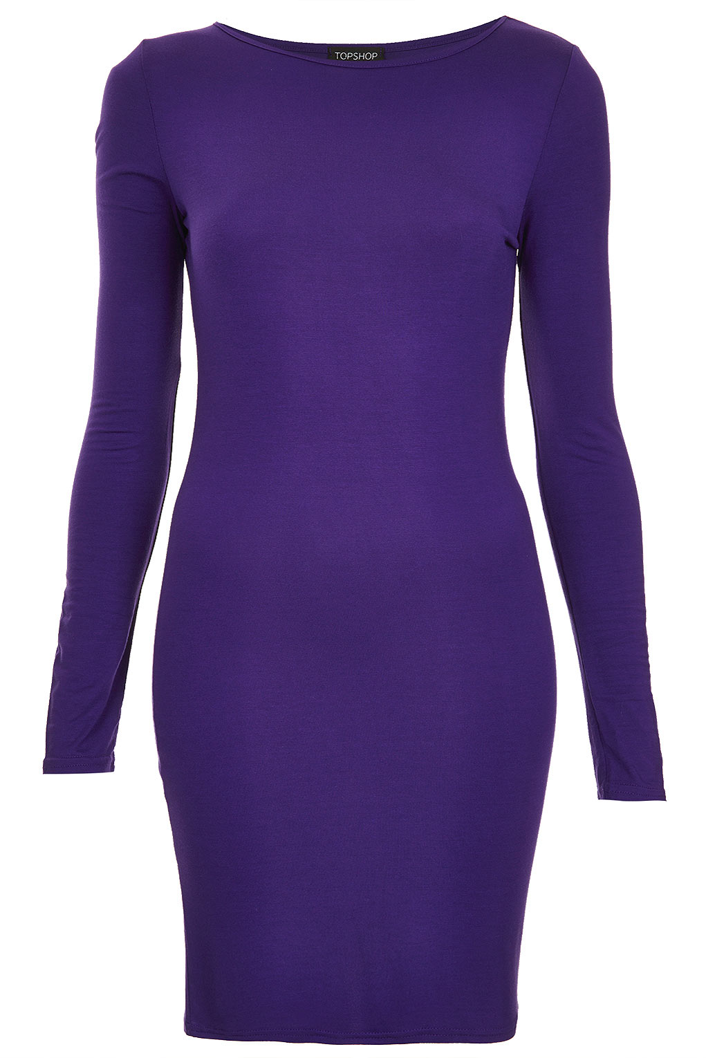 Lyst Topshop Plain Jersey Bodycon Dress In Purple