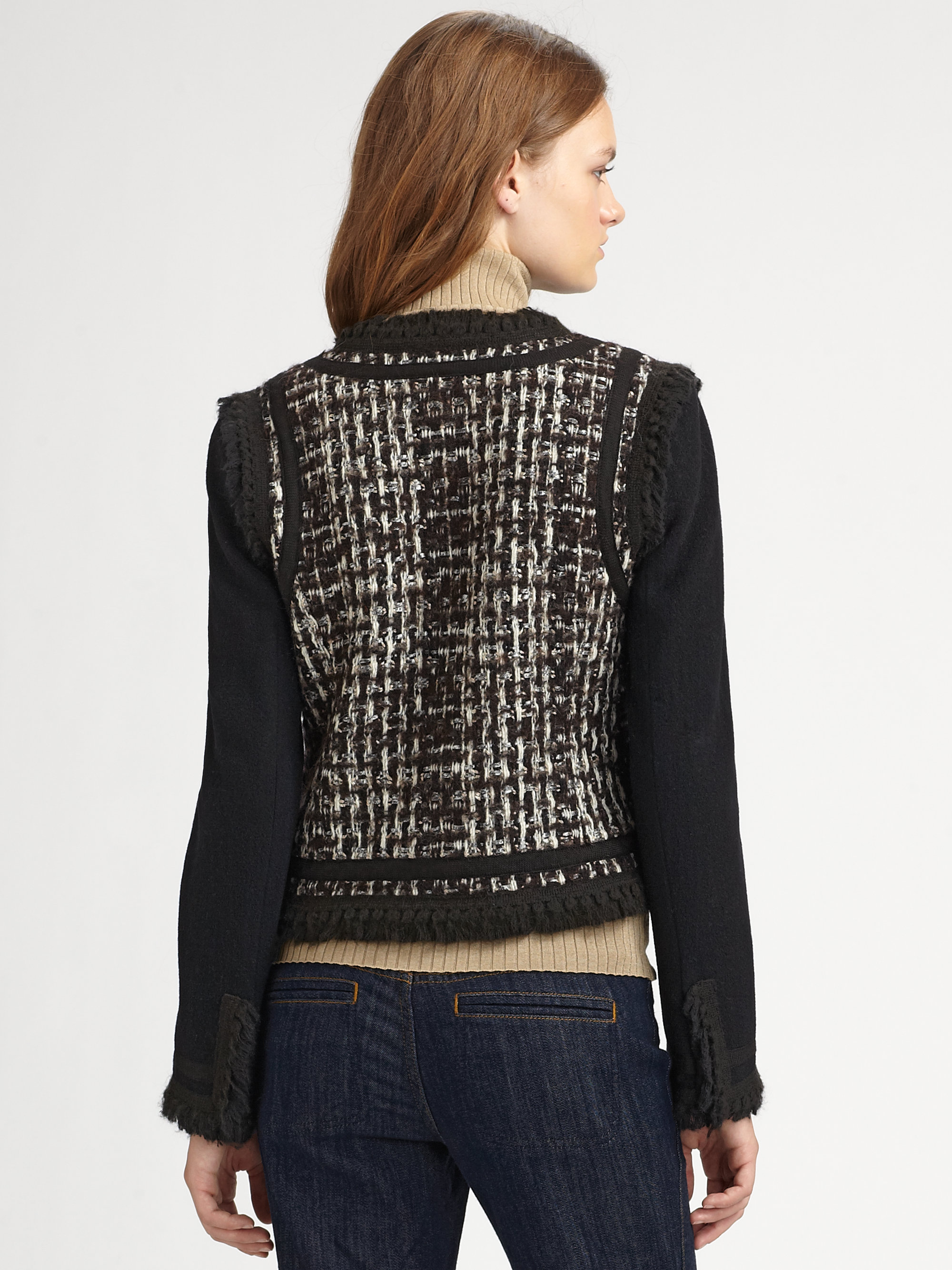 Lyst Tory Burch Carr Ribbon Cropped Tweed Jacket In Brown