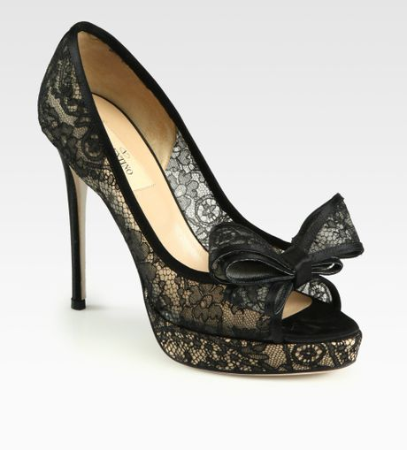 Black lace heels with bow - photo#21