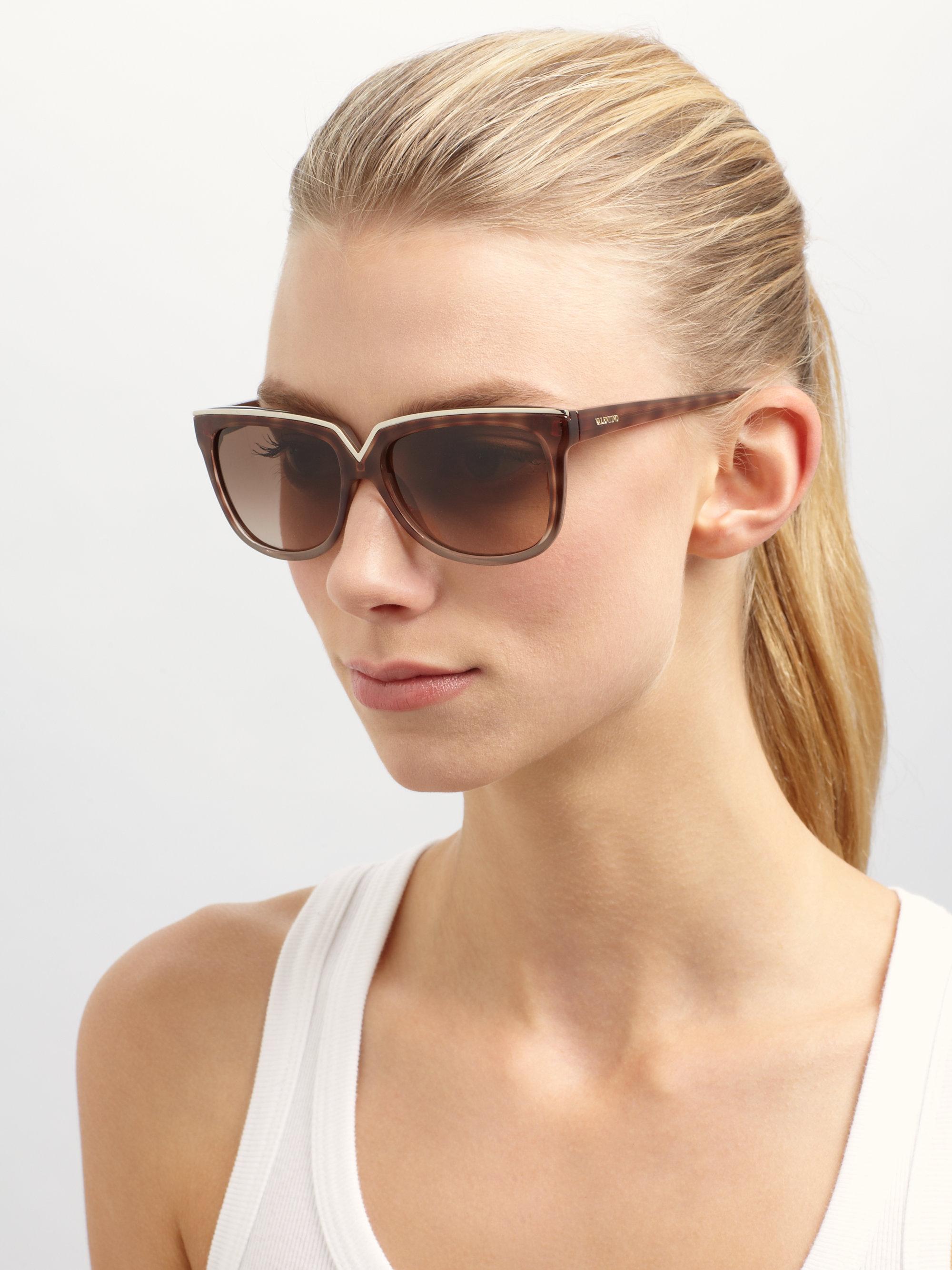 3683201375d Lyst - Valentino Diva V Square Sunglasses in Brown