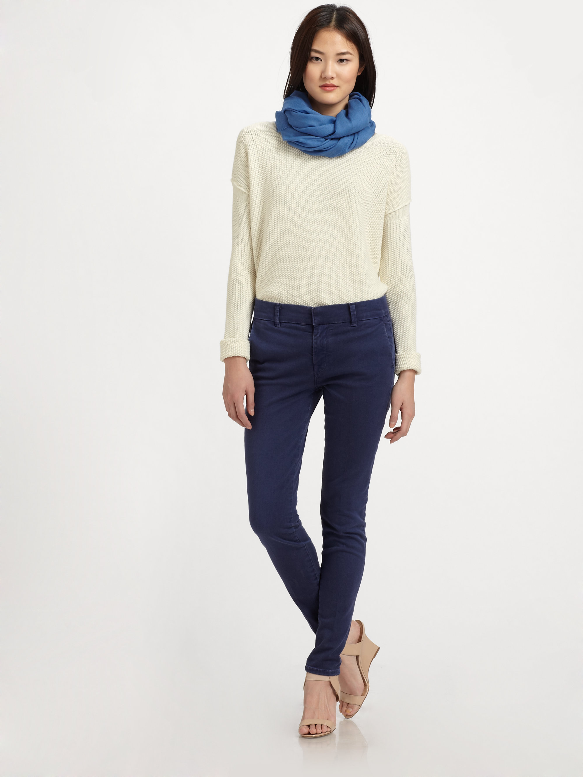 Vince Cotton Cashmere Crewneck Sweater in Gray   Lyst